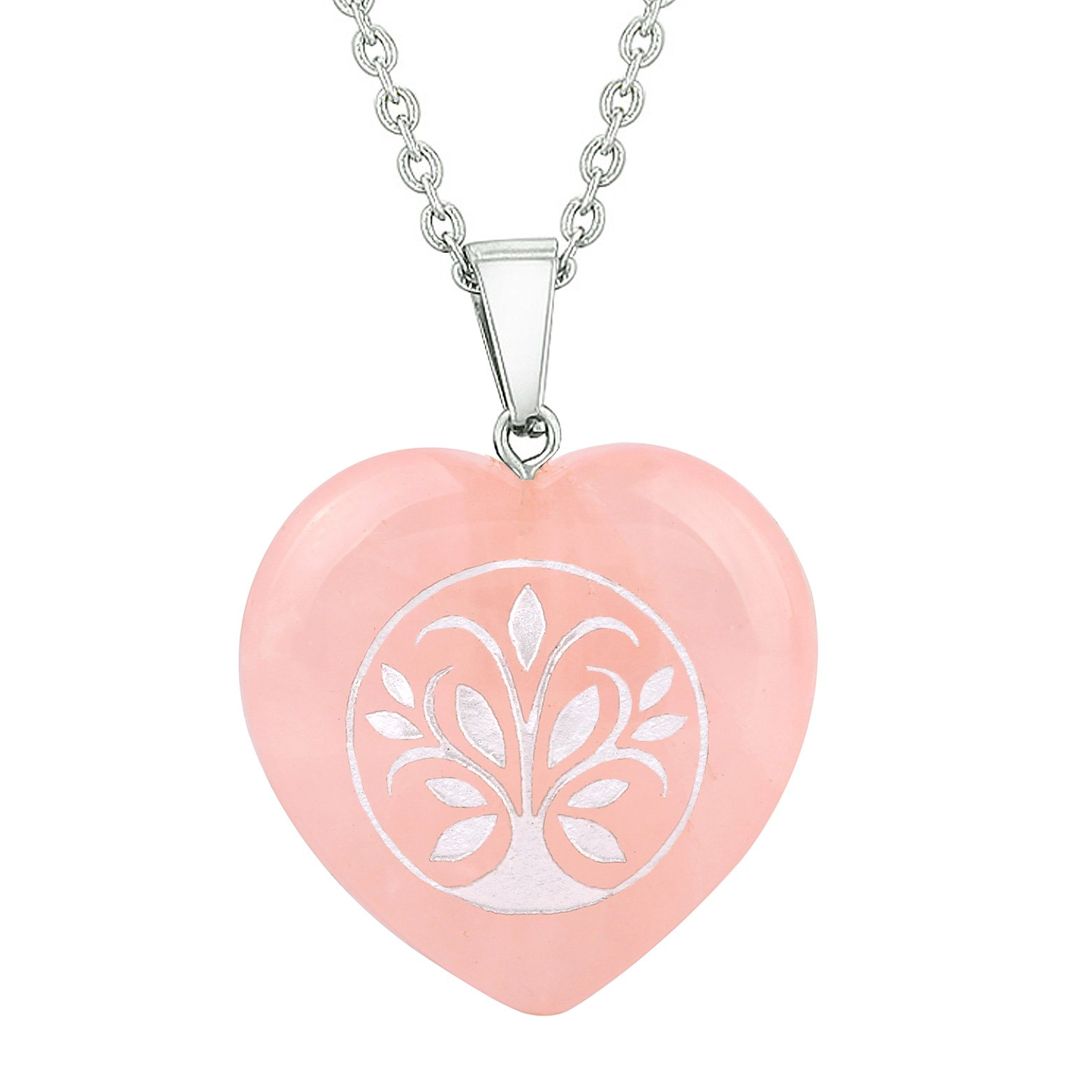 Amulet Tree of Life Magical Powers Protection Energy Rose Quartz Puffy Heart Pendant Necklace