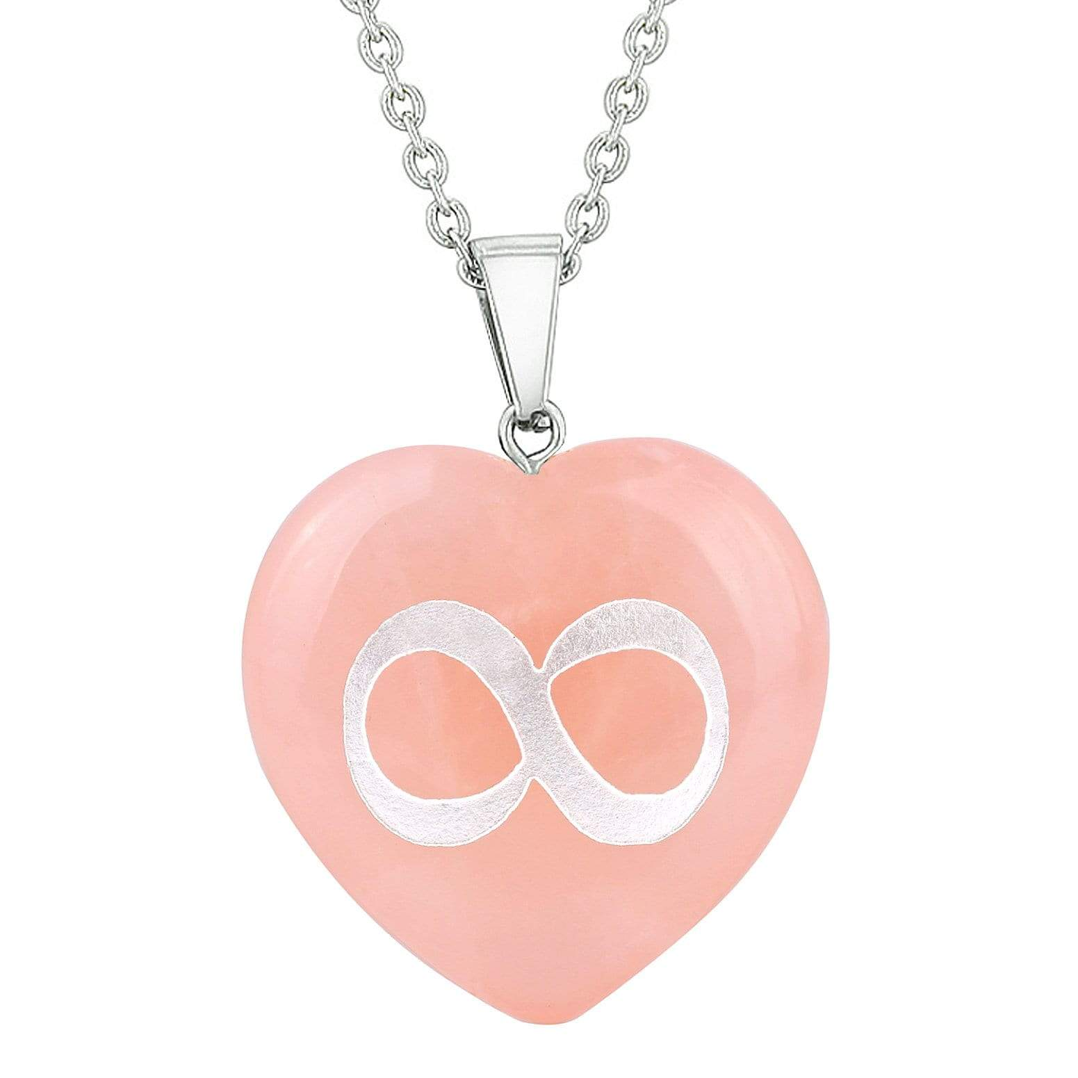 Amulet Infinity Magical Unity Powers Protection Energy Rose Quartz Puffy Heart Pendant Necklace