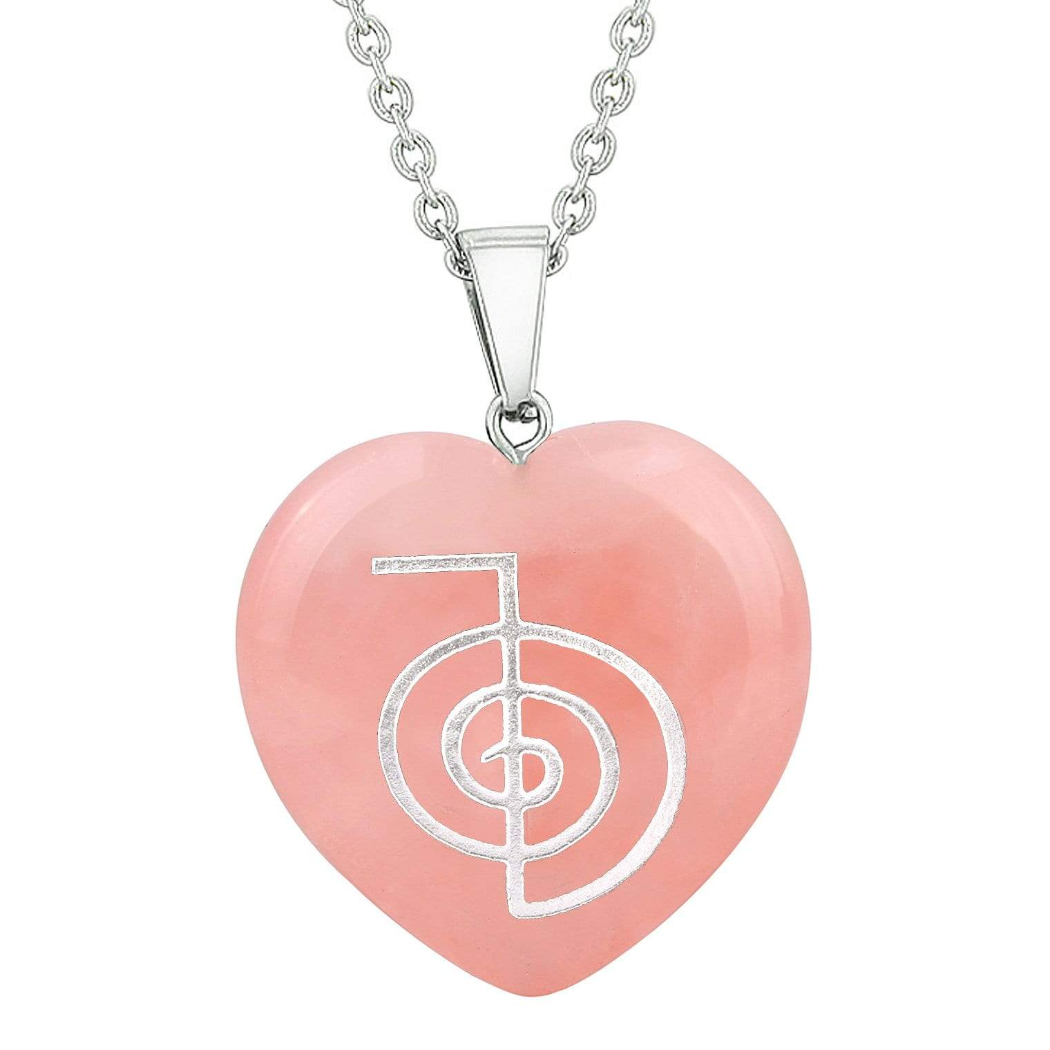 Amulet Choku Rei Reiki Magical Powers Protection Energy Rose Quartz Puffy Heart Pendant Necklace