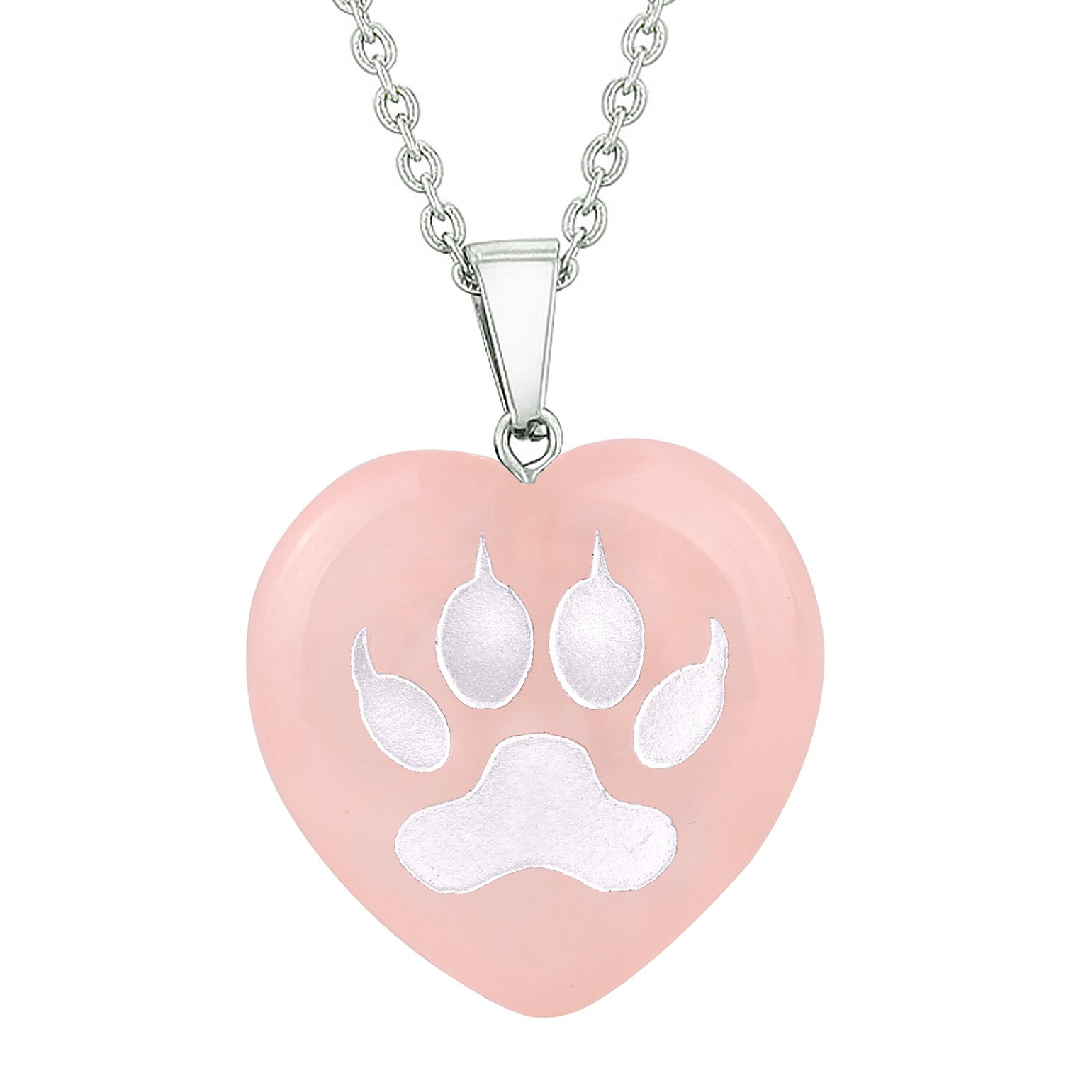 Amulet Wolf Paw Courage Magical Powers Protection Energy Rose Quartz Puffy Heart Pendant Necklace