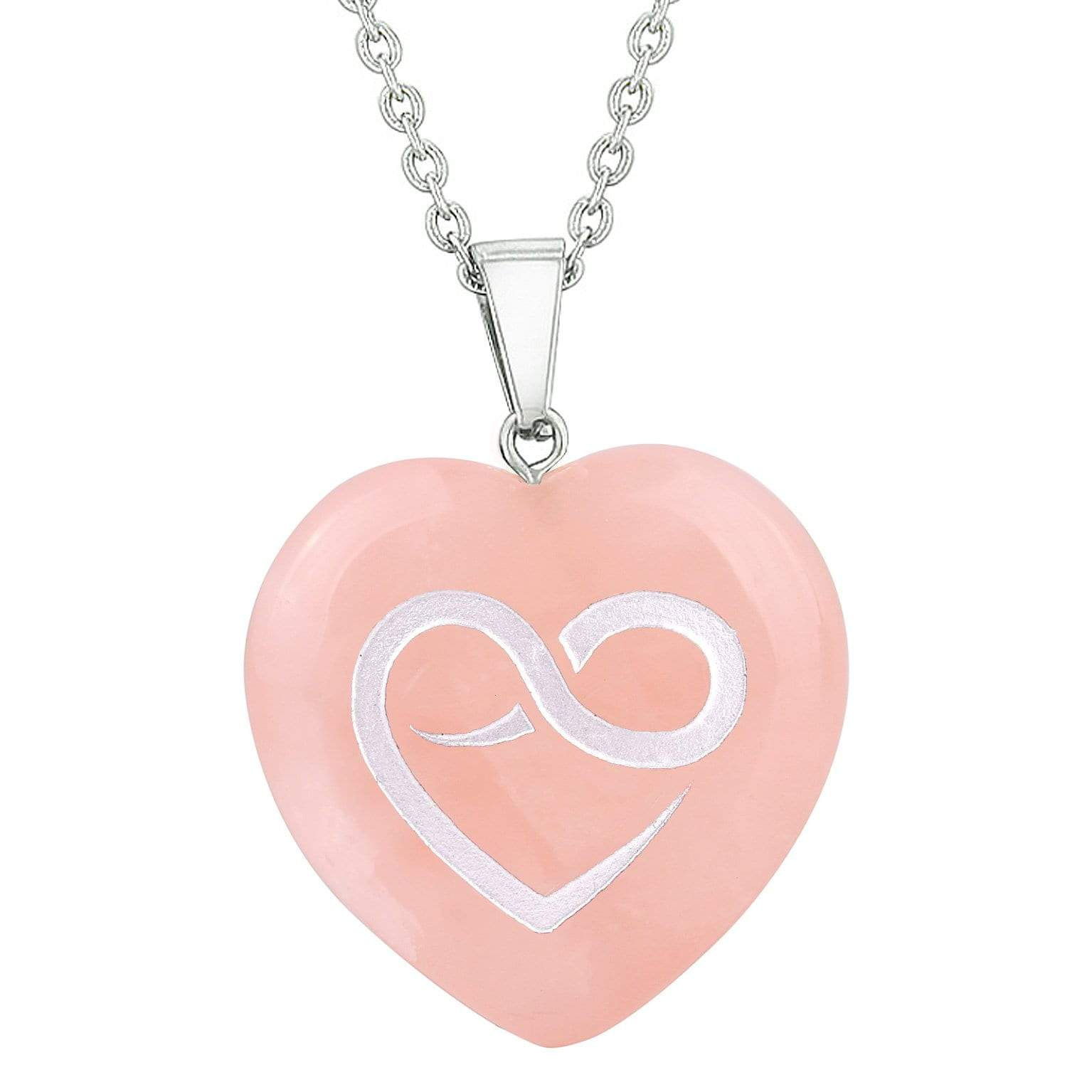 Amulet Infinity Eternity Heart Love Power Protect Energy Rose Quartz Puffy Heart Pendant Necklace