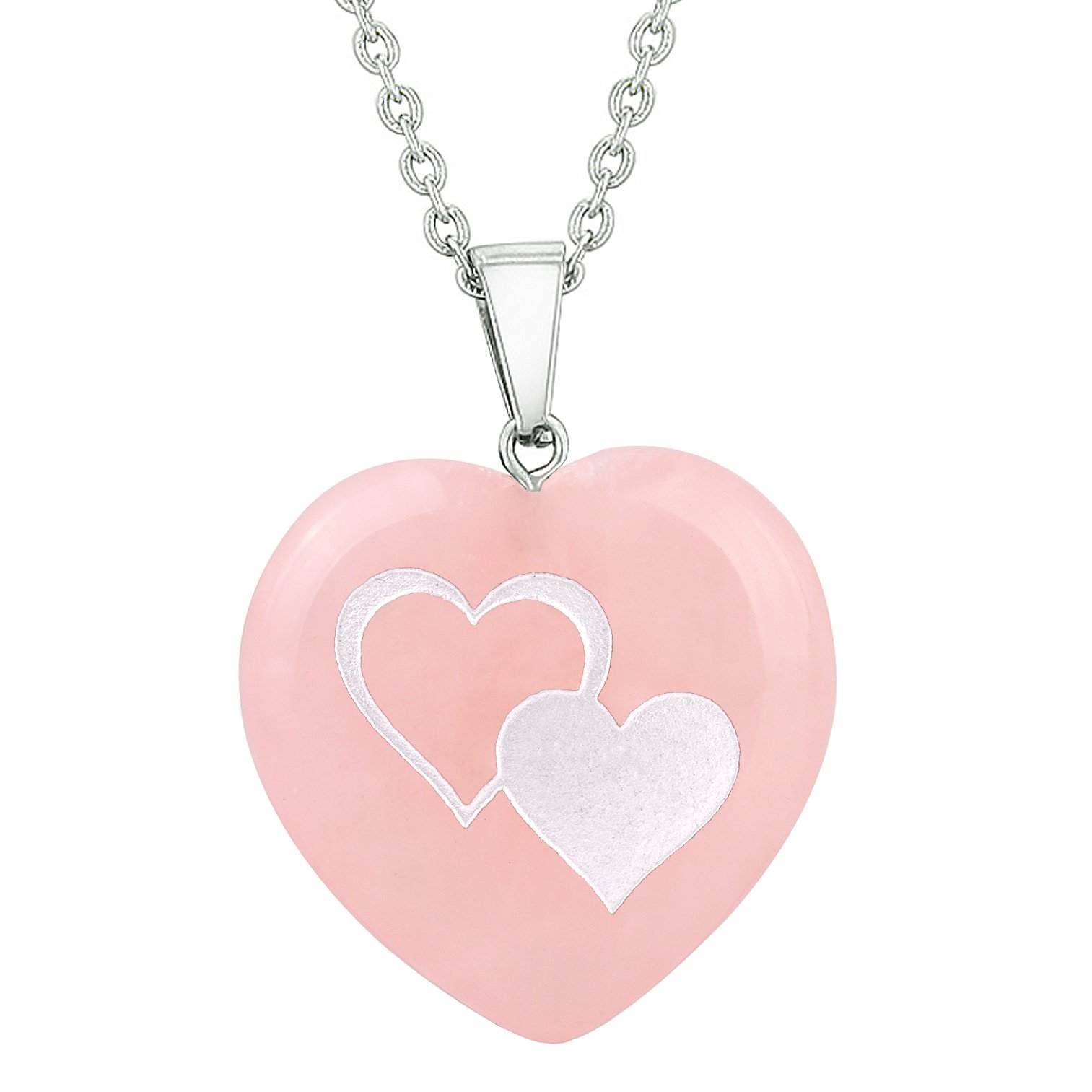 Amulet United Hearts Love Powers Protection Energy Rose Quartz Puffy Heart Pendant Necklace