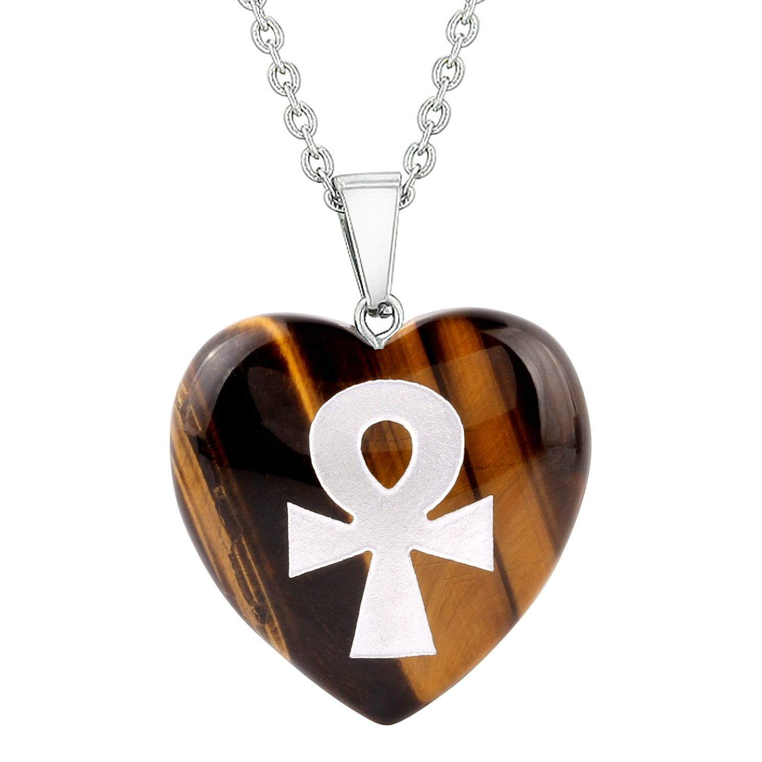 Amulet Ankh Egyptian Powers of Life Protection Energy Tiger Eye Puffy Heart Pendant Necklace