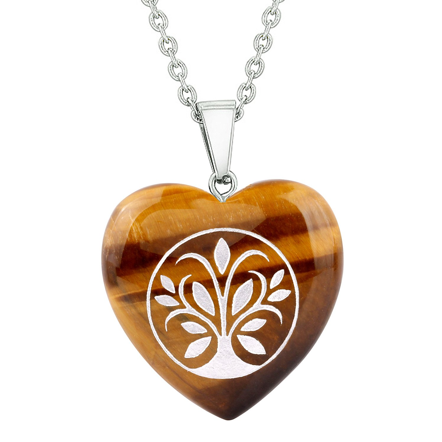 Amulet Tree of Life Magical Powers Protection Energy Tiger Eye Puffy Heart Pendant 18 Inch Necklace