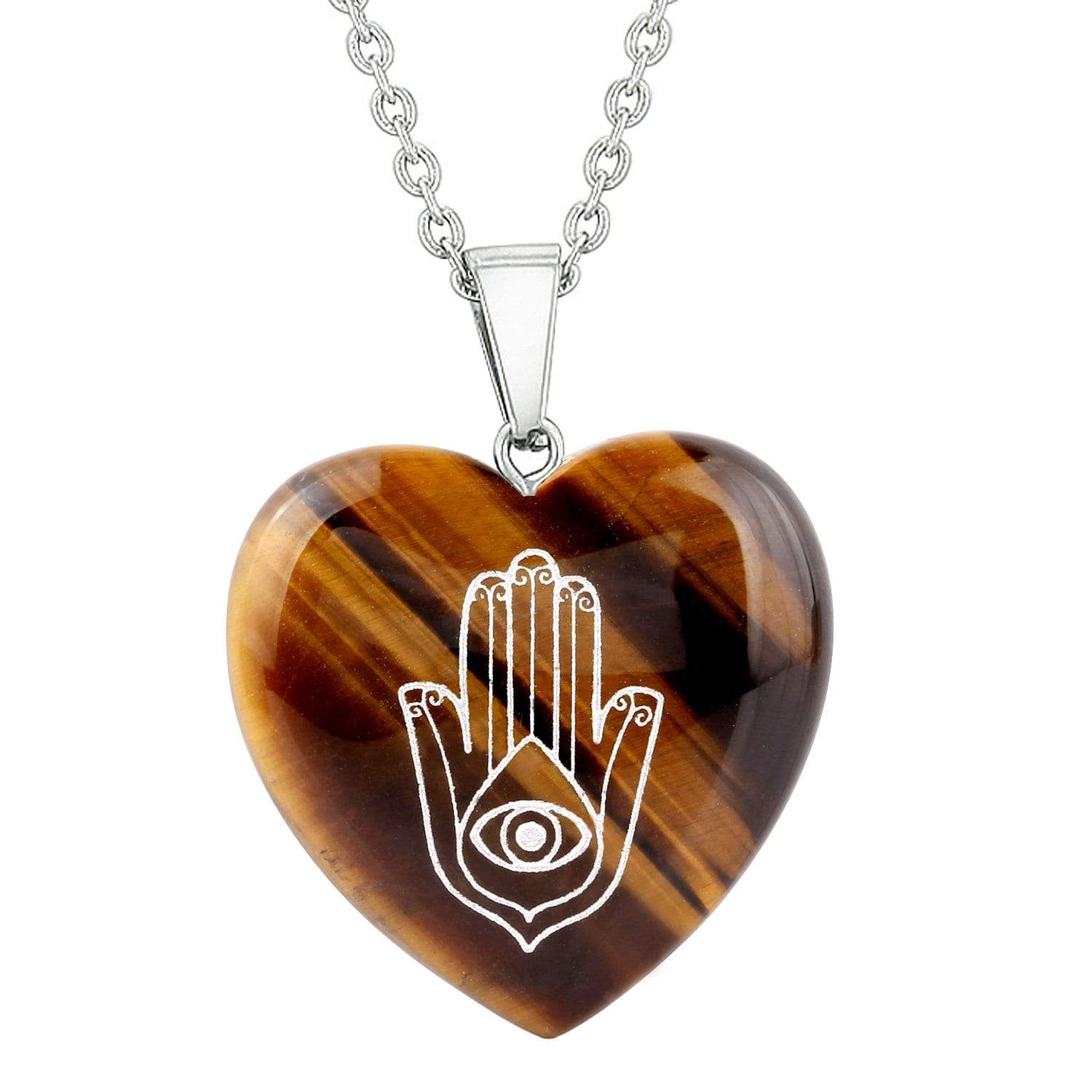 Amulet Hamsa Hand Magical Powers Protection Energy Tiger Eye Puffy Heart Pendant 22 Inch Necklace