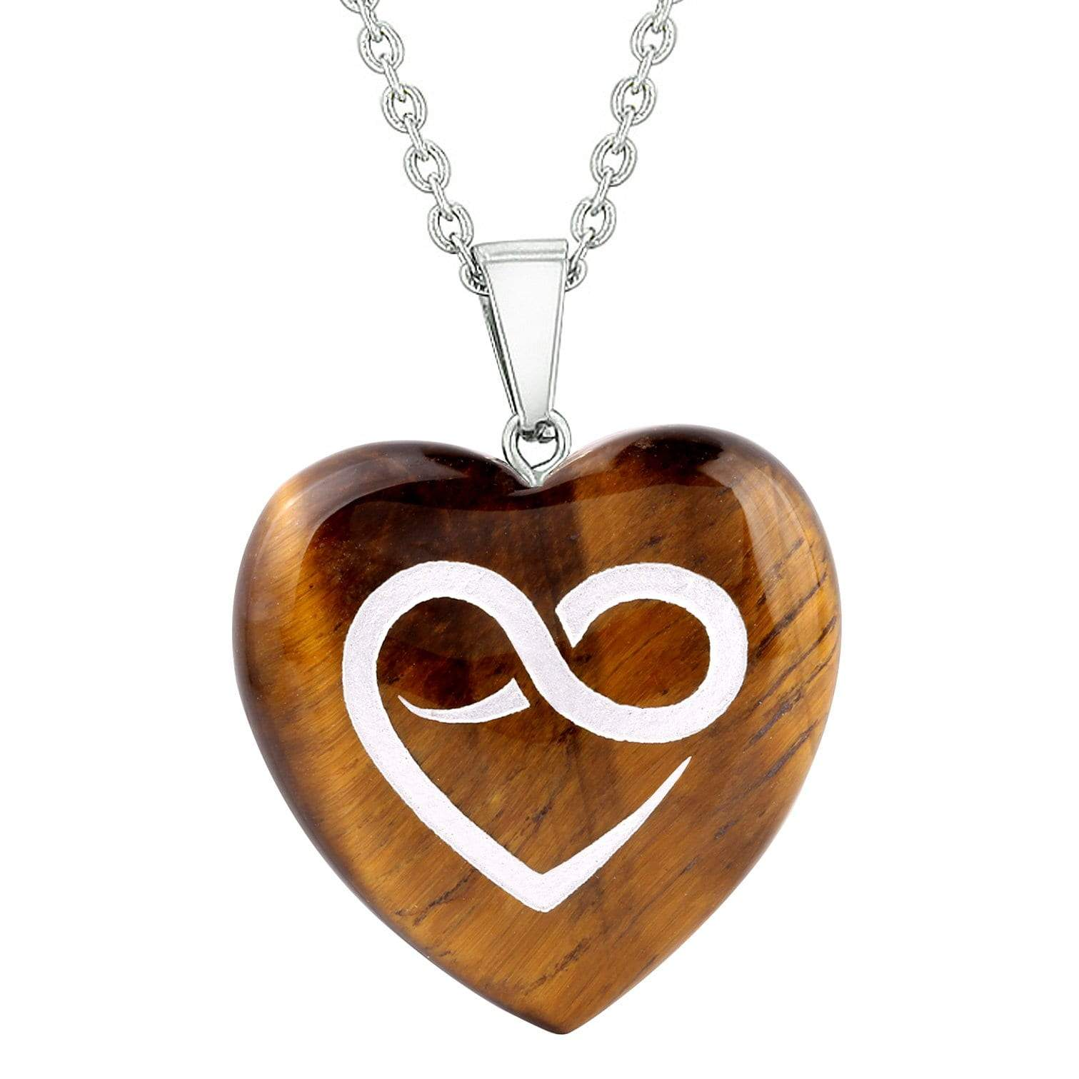 Amulet Infinity Eternity Heart Love Power Protect Energy Tiger Eye Puffy Heart Pendant Necklace