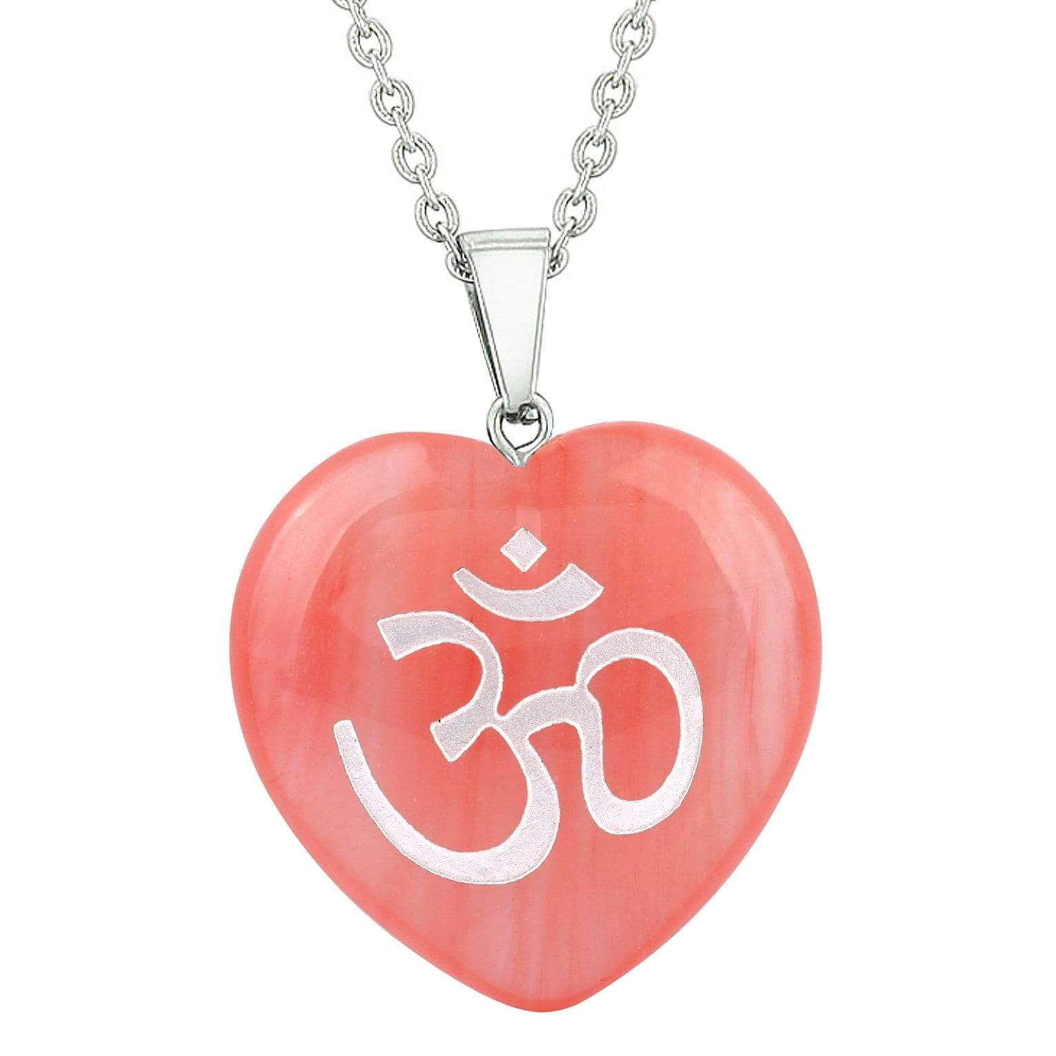 Amulet Ancient OM Egyptian Powers Cherry Simulated Quartz Hematite Puffy Heart Pendant Necklace