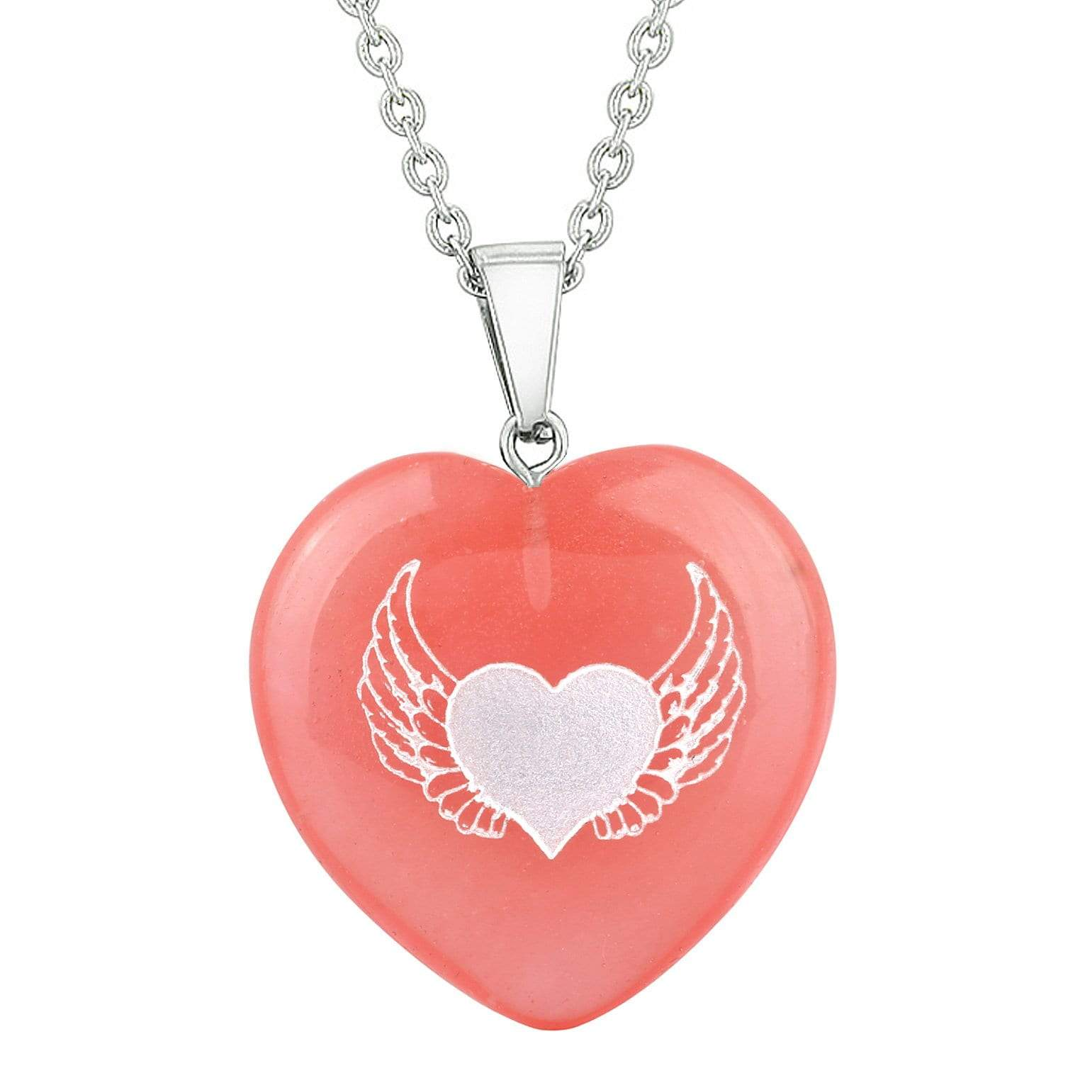 Amulet Angel Wings Heart Love Powers Energy Cherry Simulated Quartz Puffy Heart Pendant Necklace