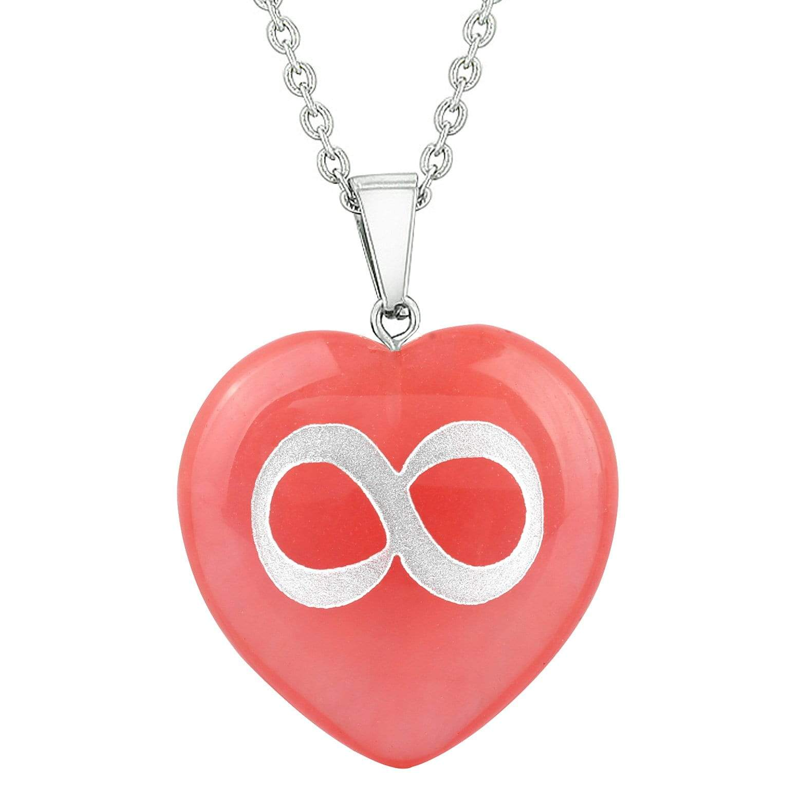 Amulet Infinity Magical Unity Powers Energy Cherry Simulated Quartz Puffy Heart Pendant Necklace