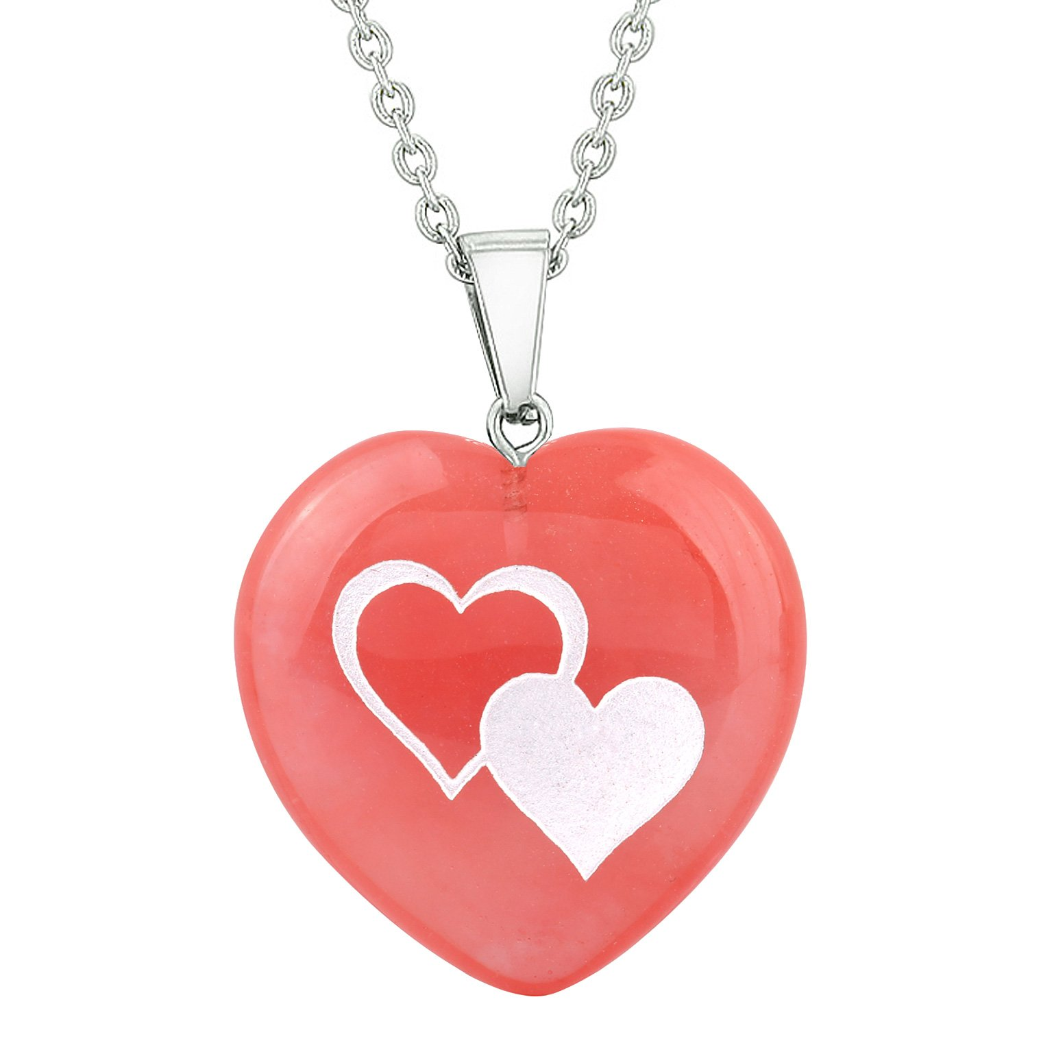 Amulet United Hearts Love Powers Energy Cherry Simulated Quartz Puffy Heart Pendant Necklace