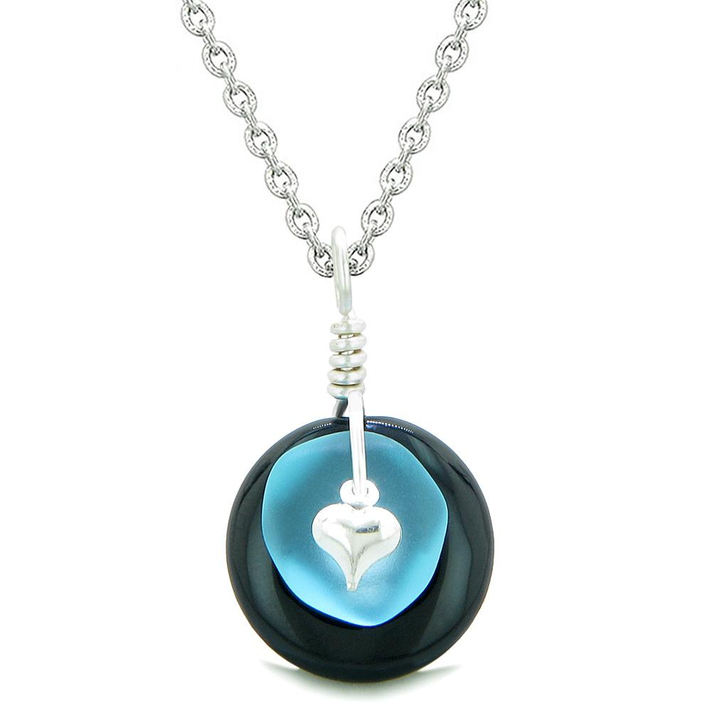 Sea Glass Sky Blue Heart Lucky Charm and Black Agate Coin Shaped Donut Magic Amulet 22 Inch Necklace