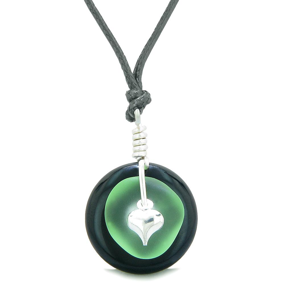 Sea Glass Mint Green Heart Lucky Charm and Black Agate Coin Shaped Donut Magic Amulet Adjustable Necklace
