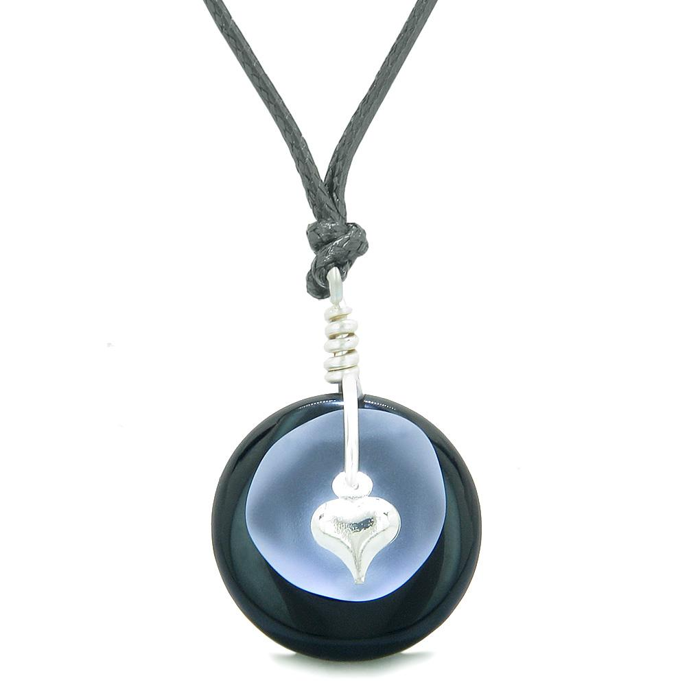 Sea Glass Pastel Purple Heart Lucky Charm and Black Agate Coin Shaped Donut Magic Amulet Adjustable Necklace