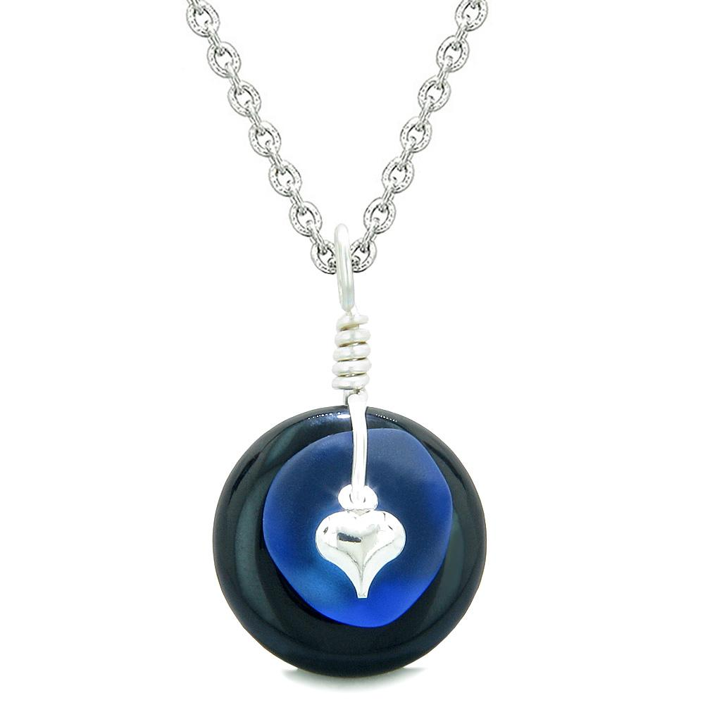 Sea Glass Ocean Blue Heart Lucky Charm and Black Agate Coin Shaped Donut Magic Amulet 22 Inch Necklace