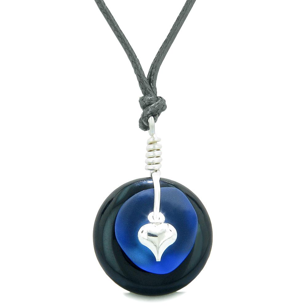 Sea Glass Ocean Blue Heart Lucky Charm and Black Agate Coin Shaped Donut Magic Amulet Adjustable Necklace