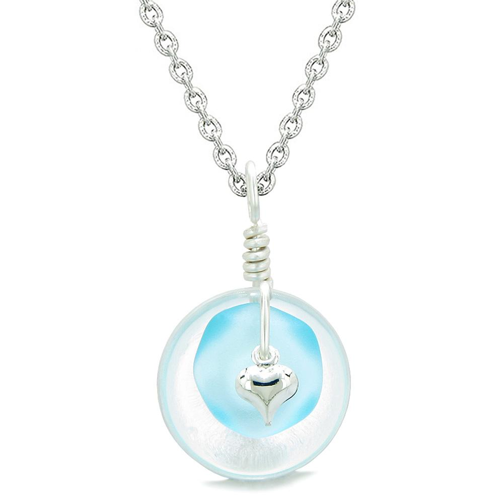 Sea Glass Sky Blue Heart Lucky Charm and Crystal Quartz Coin Shaped Donut Magic Amulet 22 Inch Necklace