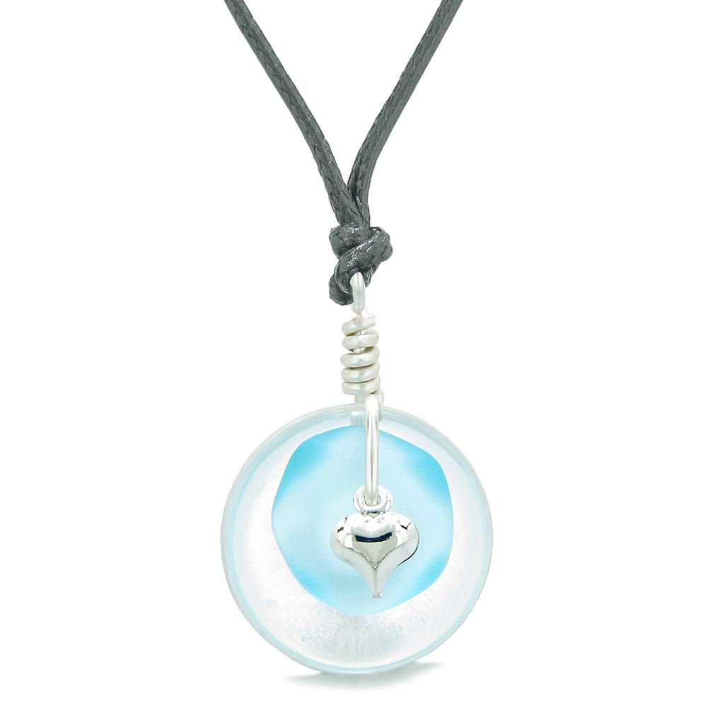 Sea Glass Sky Blue Heart Lucky Charm and Crystal Quartz Coin Shaped Donut Magic Amulet Adjustable Necklace