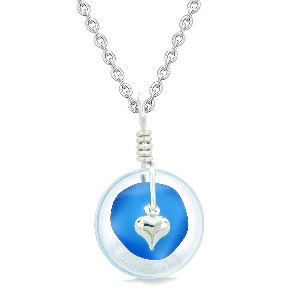 Sea Glass Ocean Blue Heart Lucky Charm and Crystal Quartz Coin Shaped Donut Magic Amulet 22 Inch Necklace