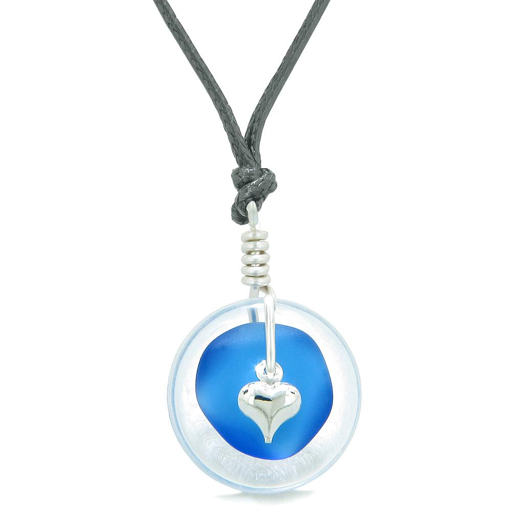 Sea Glass Ocean Blue Heart Lucky Charm and Crystal Quartz Coin Shaped Donut Magic Amulet Adjustable Necklace