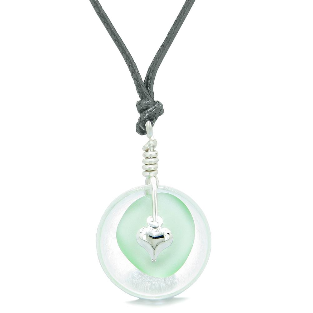 Sea Glass Mint Green Heart Lucky Charm and Crystal Quartz Coin Shaped Donut Magic Amulet Adjustable Necklace