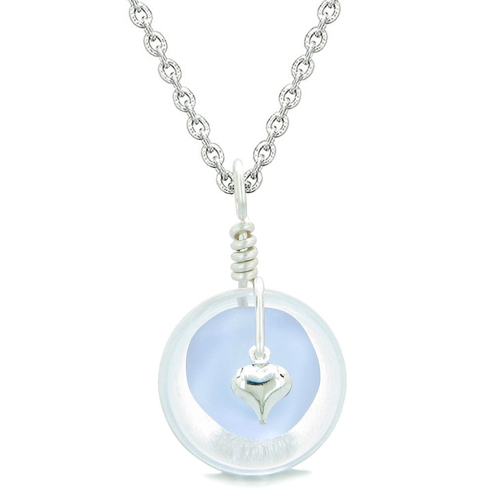 Sea Glass Pastel Purple Heart Lucky Charm and Crystal Quartz Coin Shaped Donut Magic Amulet 22 Inch Necklace