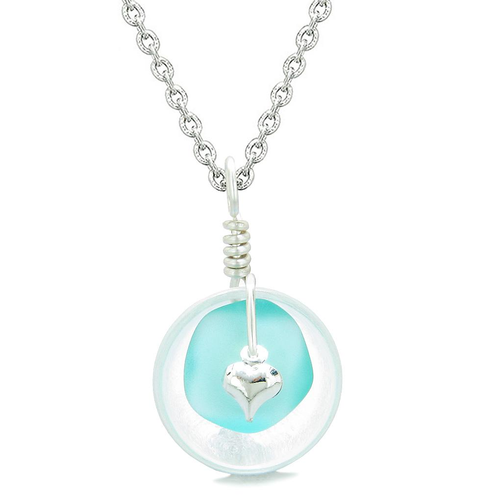 Sea Glass Aqua Blue Heart Lucky Charm and Crystal Quartz Coin Shaped Donut Magic Amulet 18 Inch Necklace