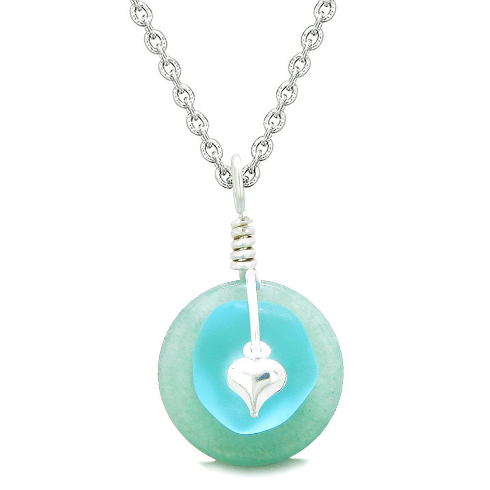 Sea Glass Sky Blue Heart Lucky Charm and Green Quartz Coin Shaped Donut Magic Amulet 22 Inch Necklace