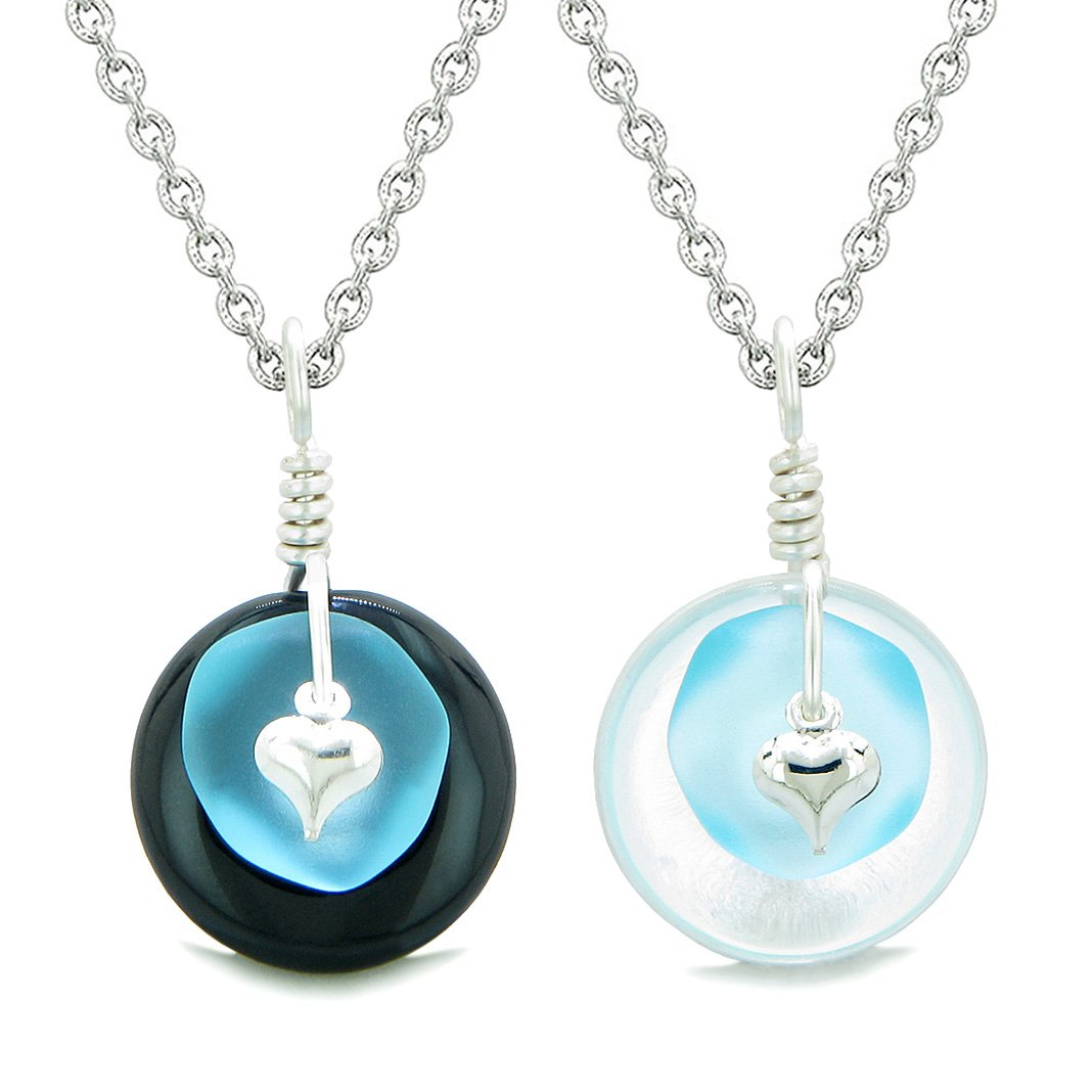Sea Glass Yin Yang Love Couples BFF Set Sky Blue Heart Black Agate Crystal Quartz Donut Amulet Necklaces