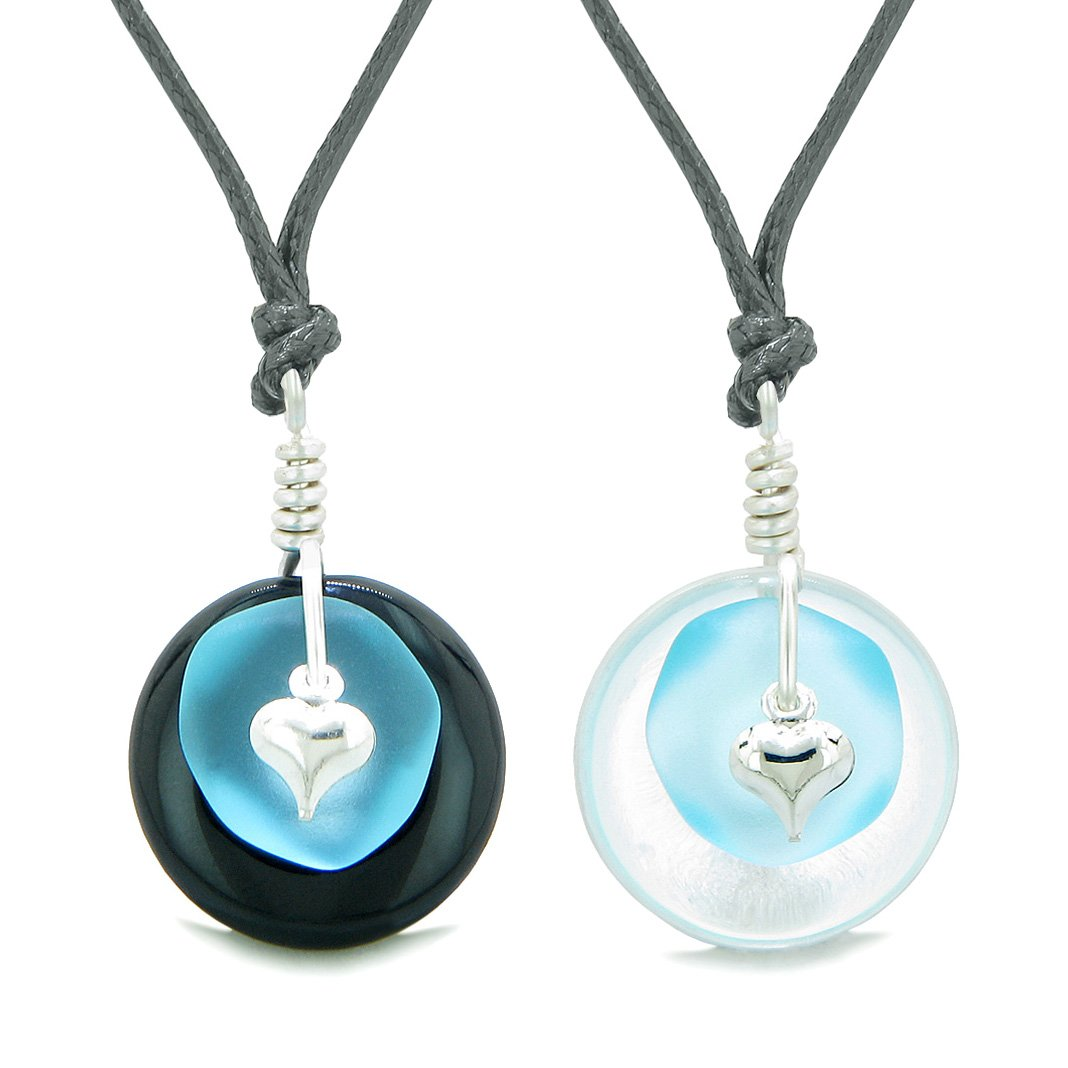 Sea Glass Yin Yang Love Couples BFF Set Sky Blue Heart Crystal Quartz Black Agate Donut Amulet Necklaces