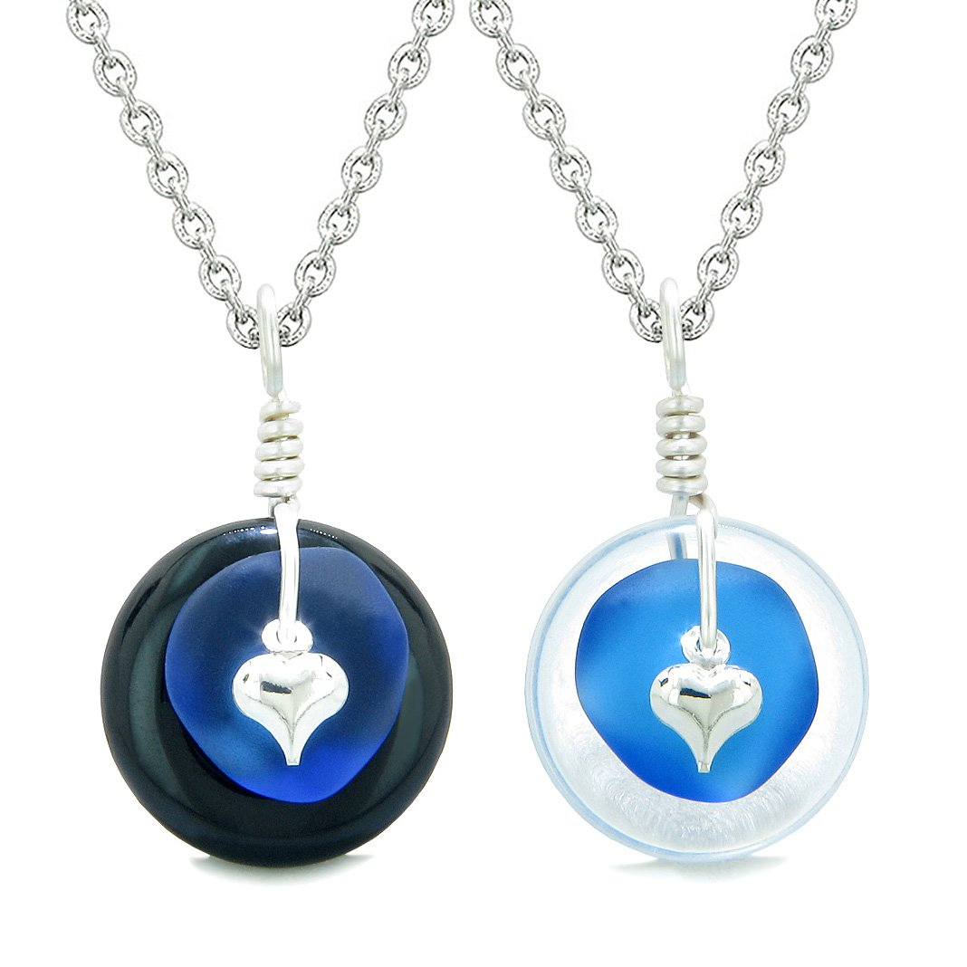 Sea Glass Yin Yang Love Couples BFF Set Ocean Blue Heart Black Agate Crystal Quartz Donut Amulet Necklaces