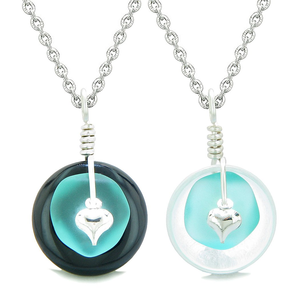 Sea Glass Yin Yang Love Couples BFF Set Aqua Blue Heart Black Agate Crystal Quartz Donut Amulet Necklaces