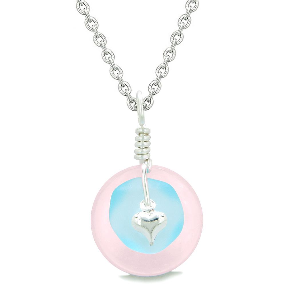 Sea Glass Sky Blue Heart Lucky Charm and Rose Quartz Coin Shaped Donut Magic Amulet 22 Inch Necklace
