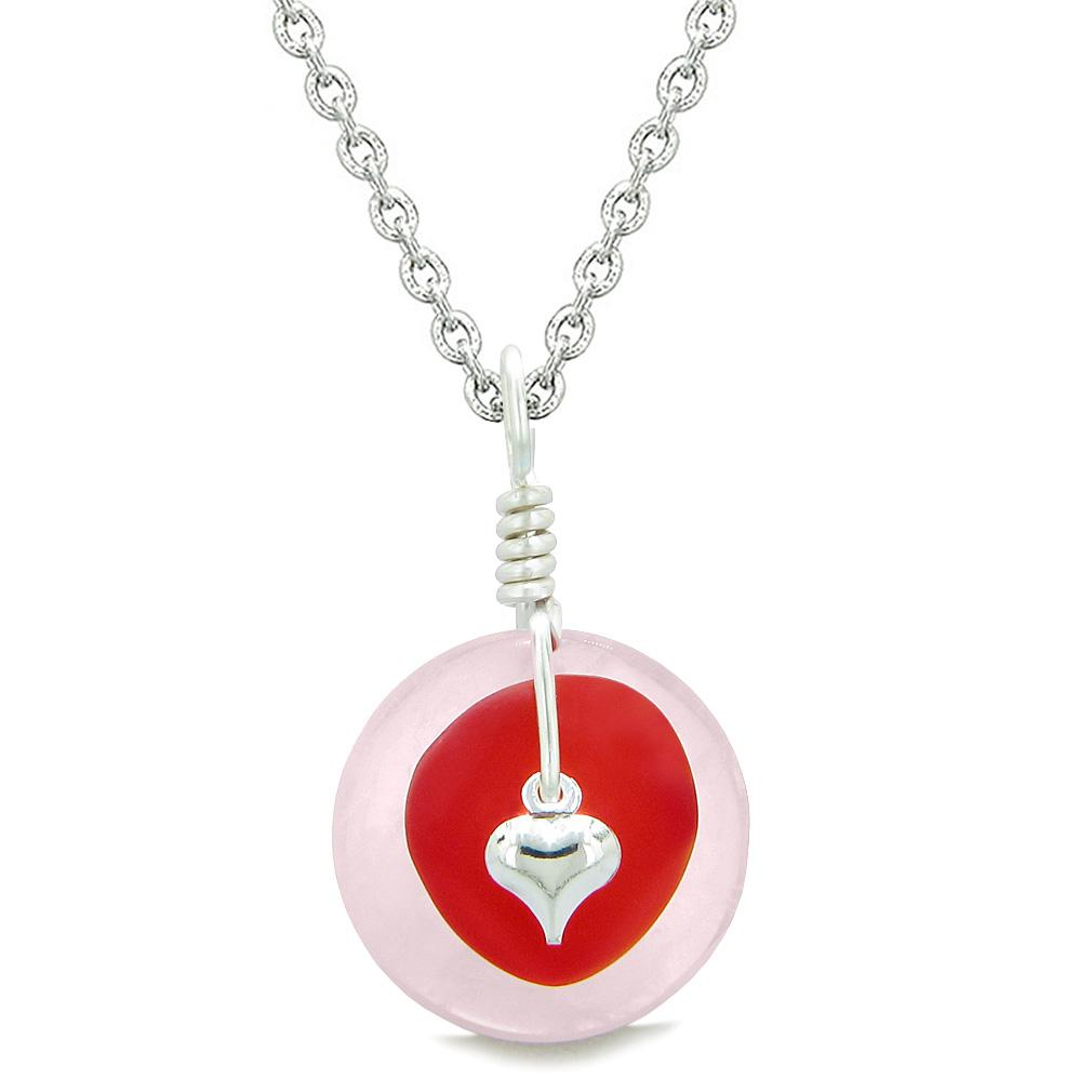 Sea Glass Royal Red Heart Lucky Charm and Rose Quartz Coin Shaped Donut Magic Amulet 22 Inch Necklace