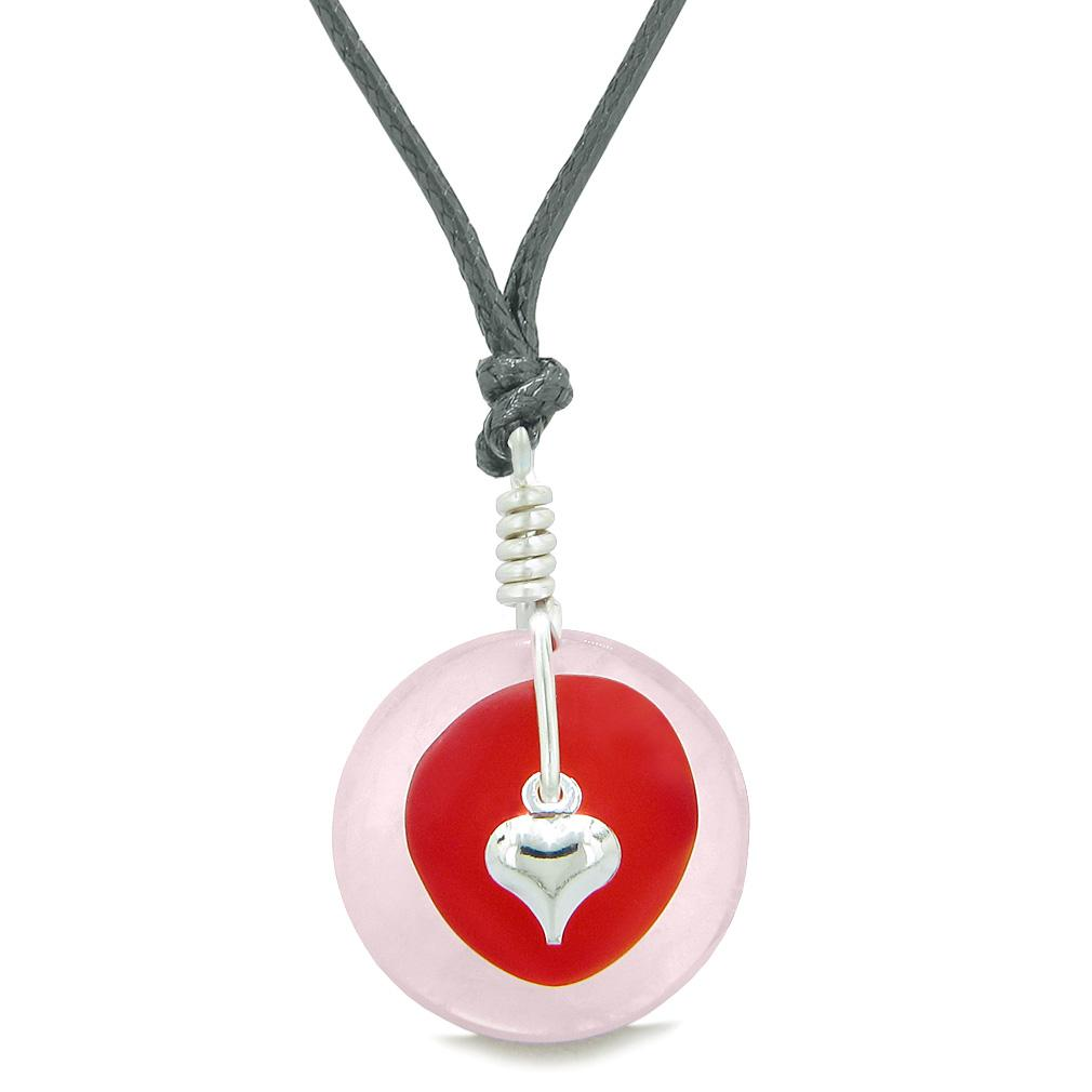 Sea Glass Royal Red Heart Lucky Charm and Rose Quartz Coin Shaped Donut Magic Amulet Adjustable Necklace