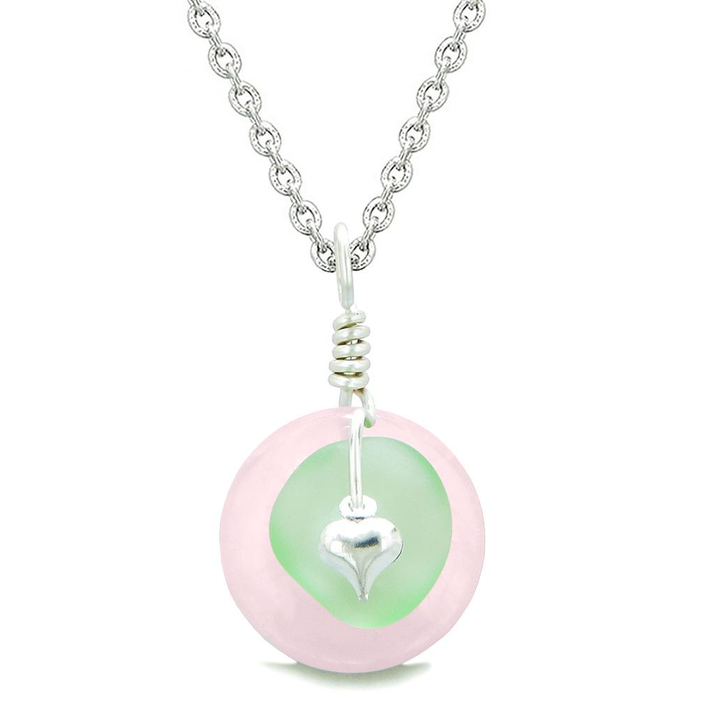 Sea Glass Mint Green Heart Lucky Charm and Rose Quartz Coin Shaped Donut Magic Amulet 22 Inch Necklace