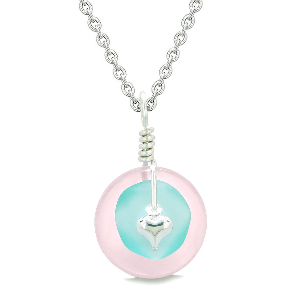 Sea Glass Aqua Blue Heart Lucky Charm and Rose Quartz Coin Shaped Donut Magic Amulet 18 Inch Necklace
