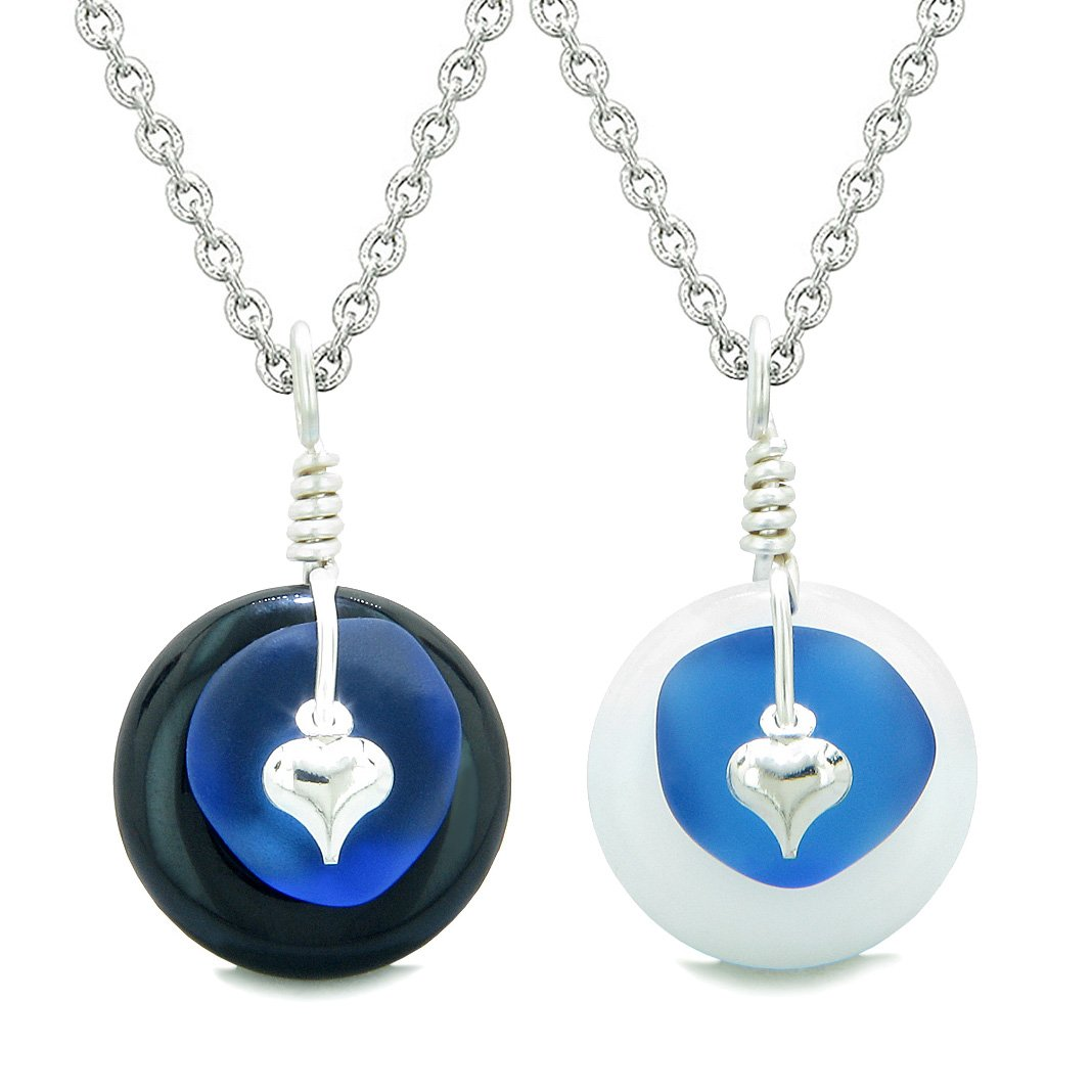 Sea Glass Yin Yang Love Couples BFF Set Ocean Blue Heart Black Agate White Quartz Donut Amulet Necklaces