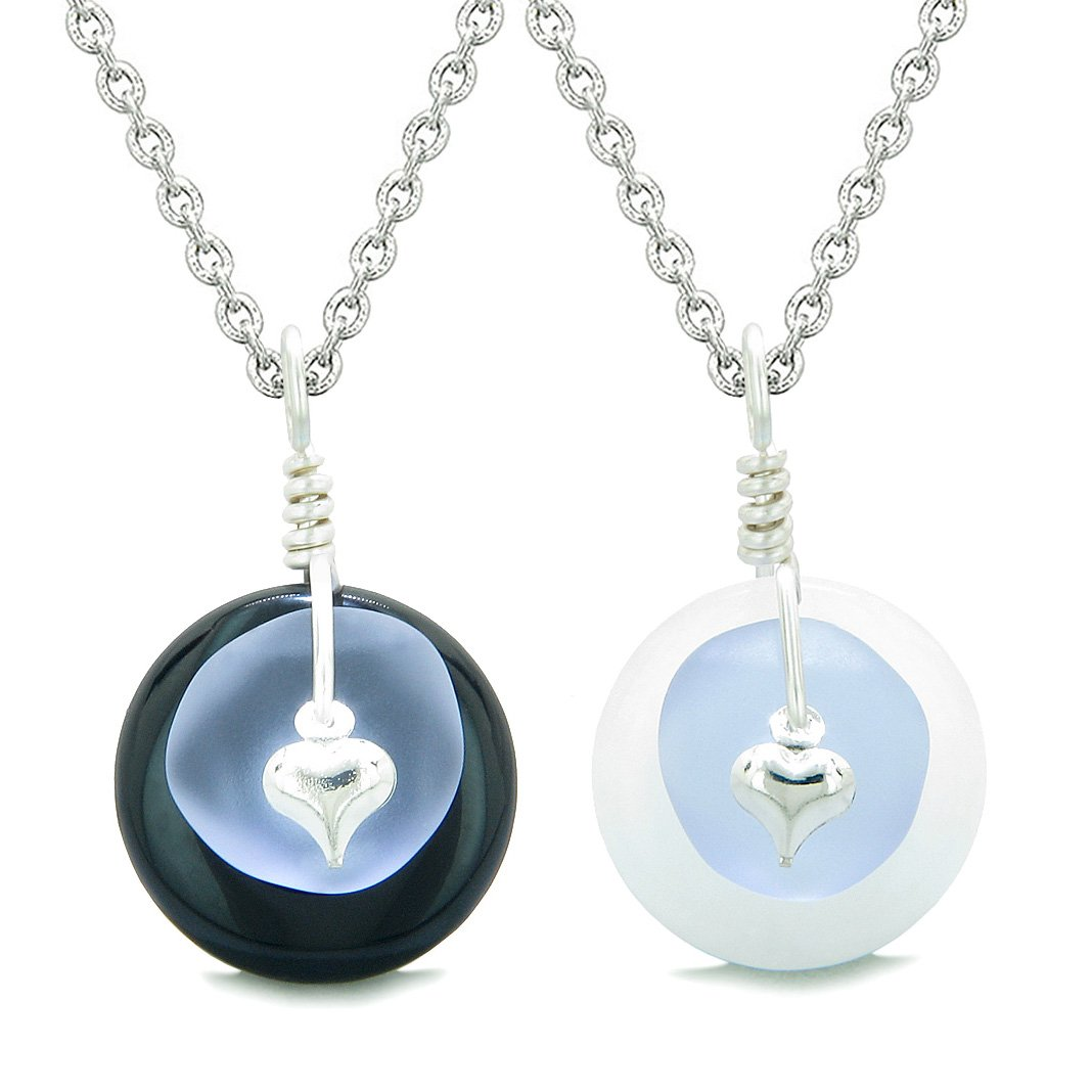 Sea Glass Yin Yang Love Couples BFF Set Pastel Purple Heart Black Agate White Quartz Donut Amulet Necklaces