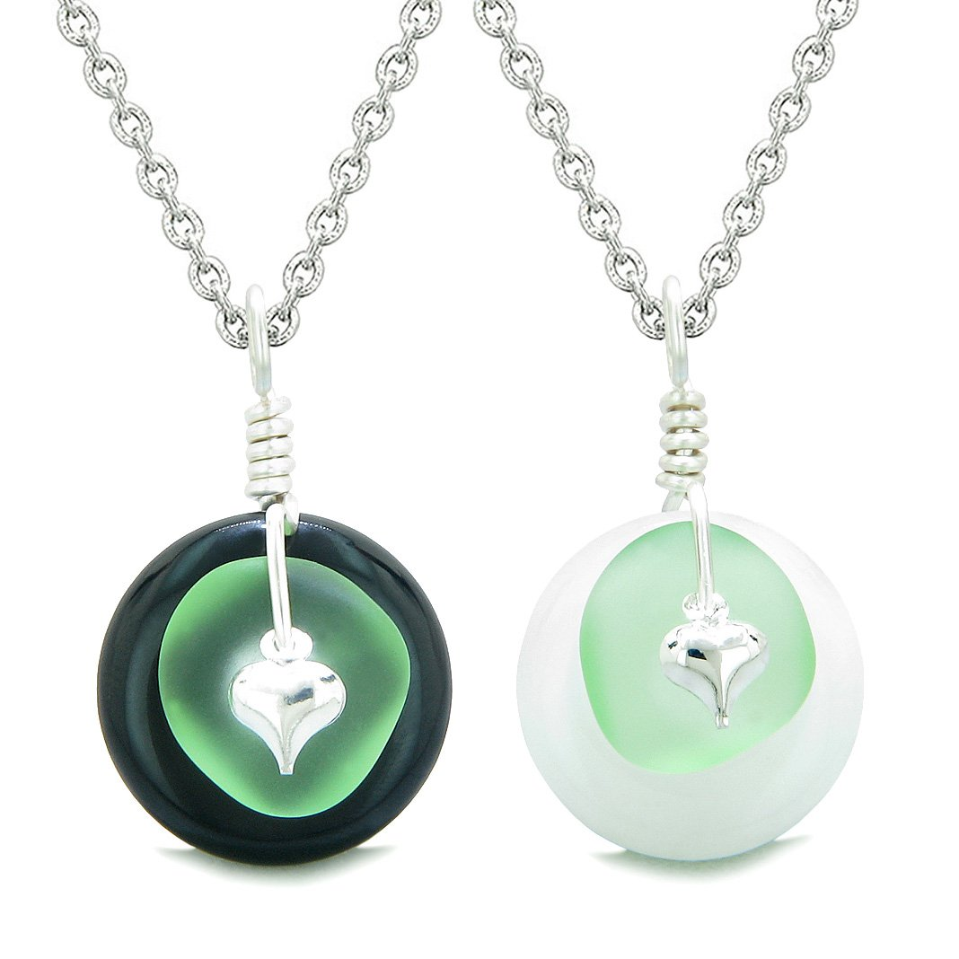 Sea Glass Yin Yang Love Couples BFF Set Mint Green Heart Black Agate White Quartz Donut Amulet Necklaces