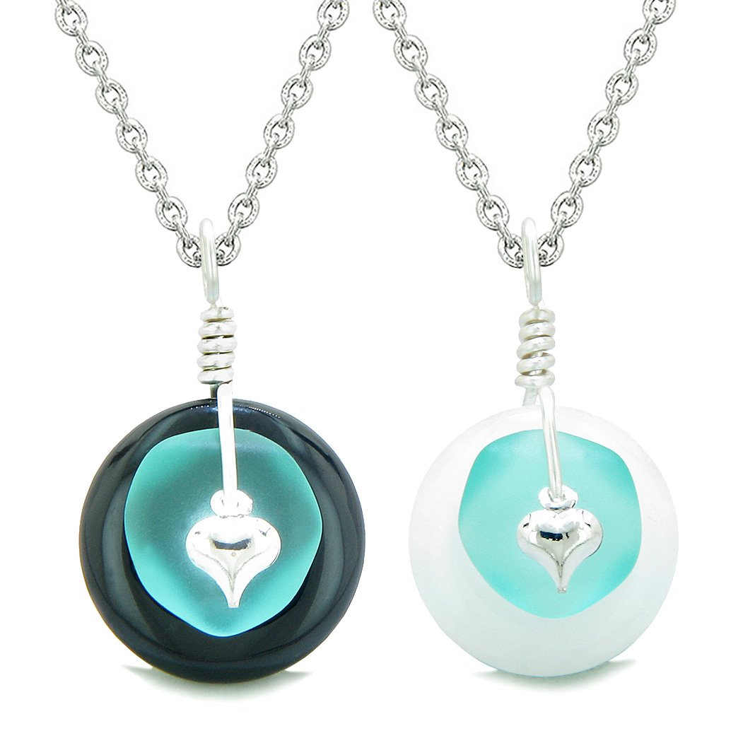Sea Glass Yin Yang Love Couples BFF Set Aqua Blue Heart Black Agate White Quartz Donut Amulet Necklaces