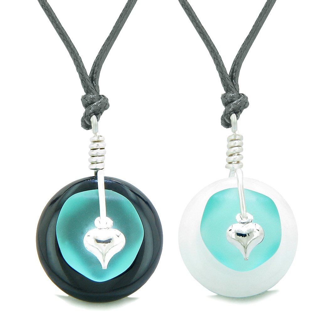 Sea Glass Yin Yang Love Couples BFF Set Aqua Blue Heart White Quartz Black Agate Donut Amulet Necklaces