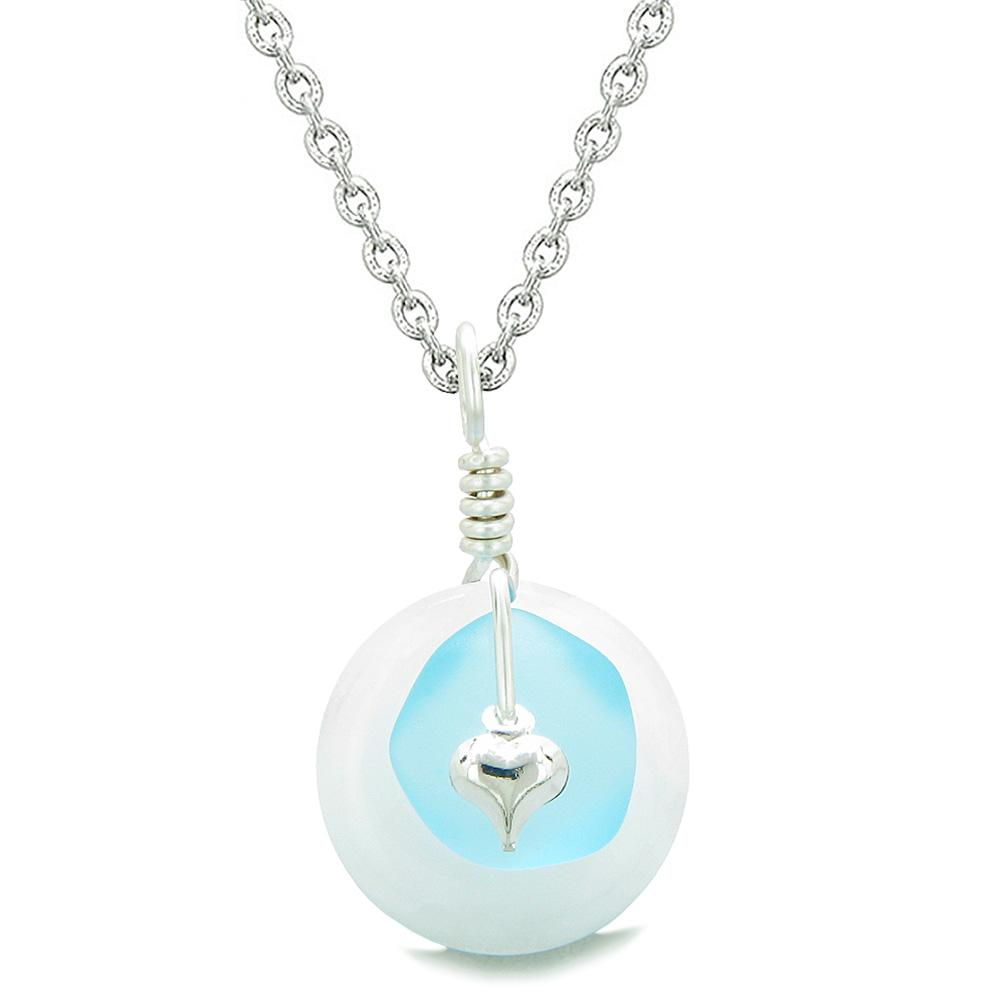 Sea Glass Sky Blue Heart Lucky Charm and White Quartz Coin Shaped Donut Magic Amulet 18 Inch Necklace