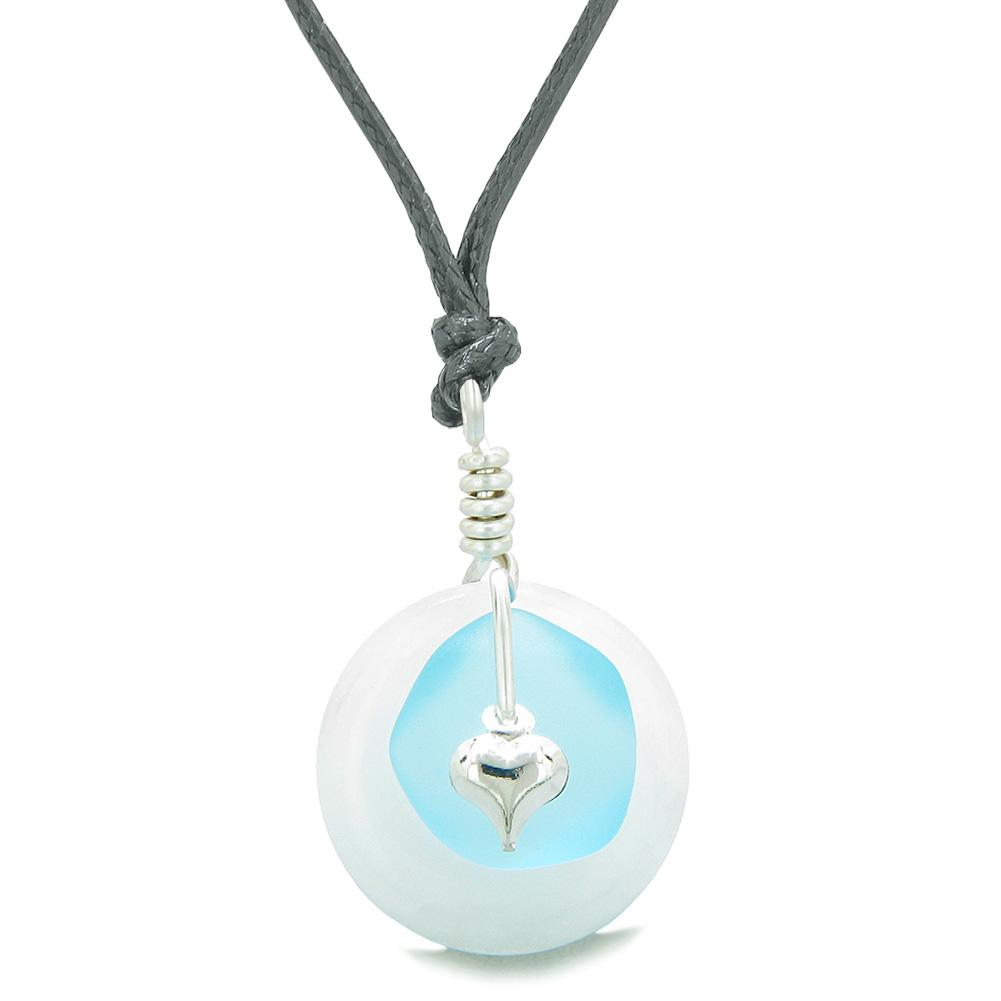 Sea Glass Sky Blue Heart Lucky Charm and White Quartz Coin Shaped Donut Magic Amulet Adjustable Necklace