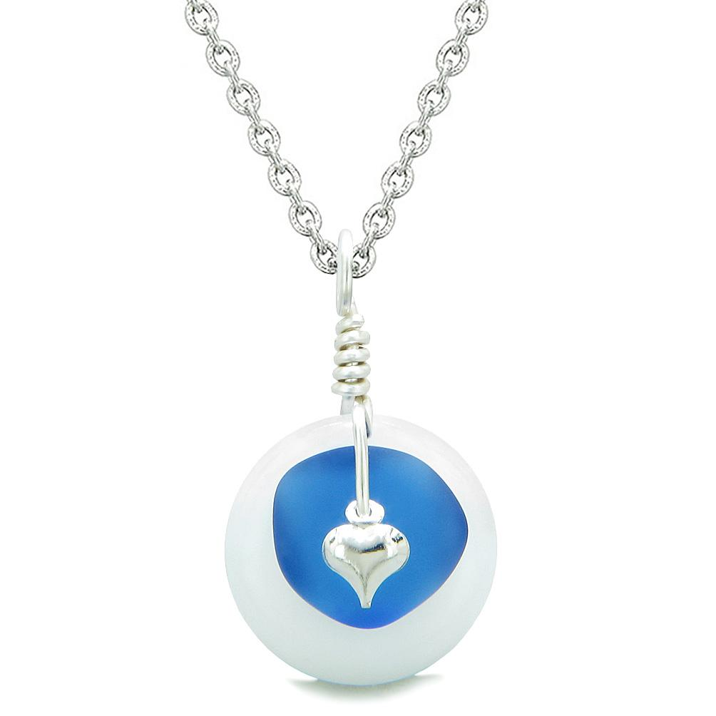 Sea Glass Ocean Blue Heart Lucky Charm and White Quartz Coin Shaped Donut Magic Amulet 18 Inch Necklace