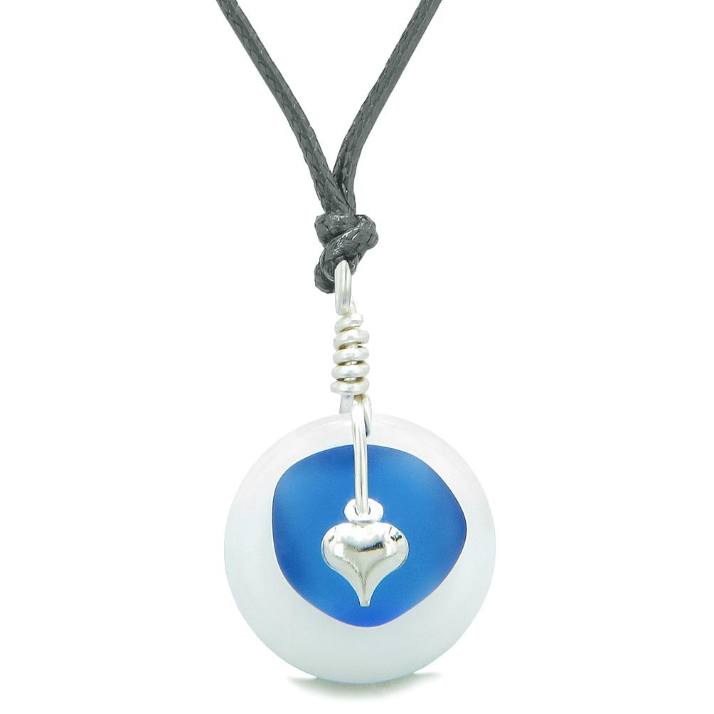 Sea Glass Ocean Blue Heart Lucky Charm and White Quartz Coin Shaped Donut Magic Amulet Adjustable Necklace