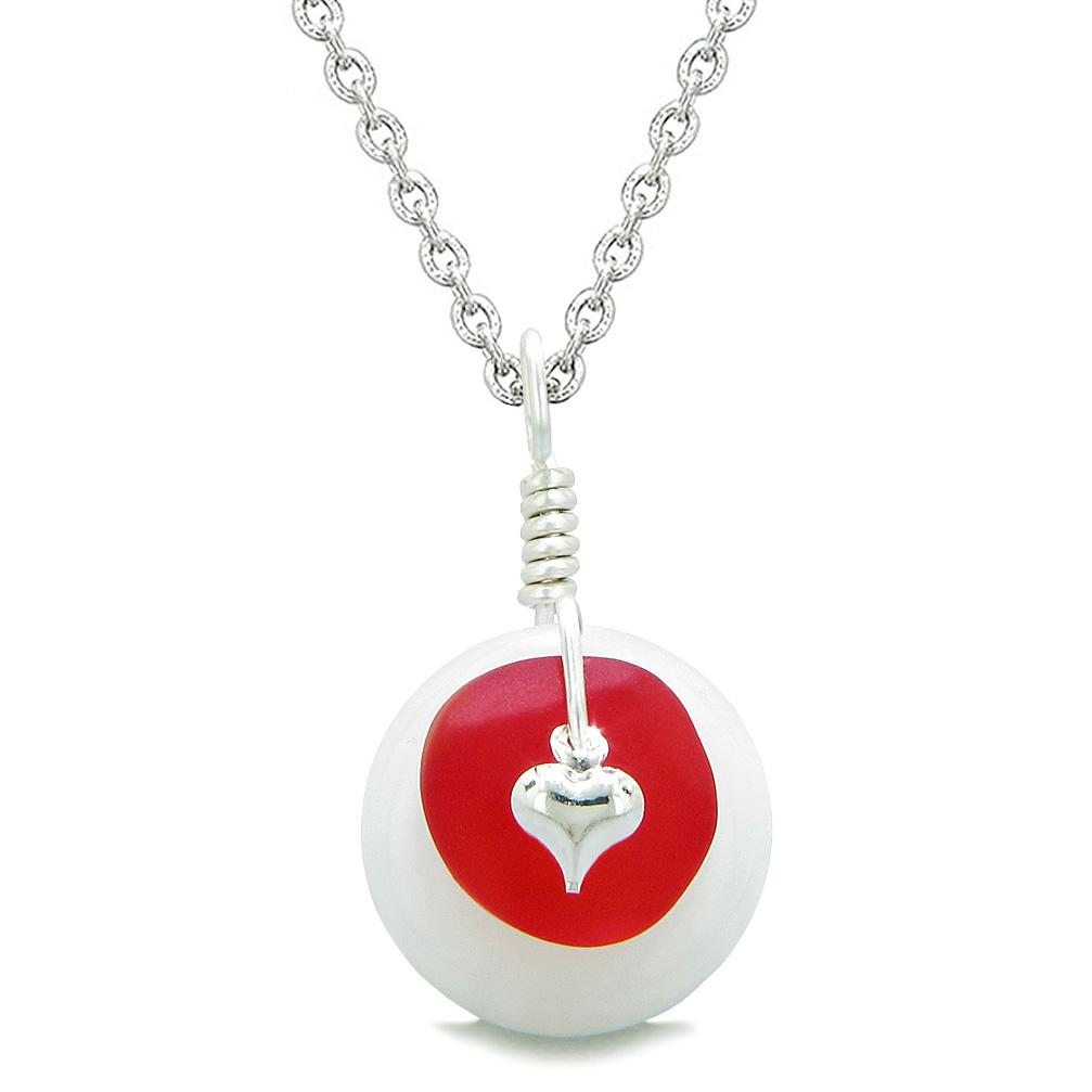 Sea Glass Royal Red Heart Lucky Charm and White Quartz Coin Shaped Donut Magic Amulet 18 Inch Necklace