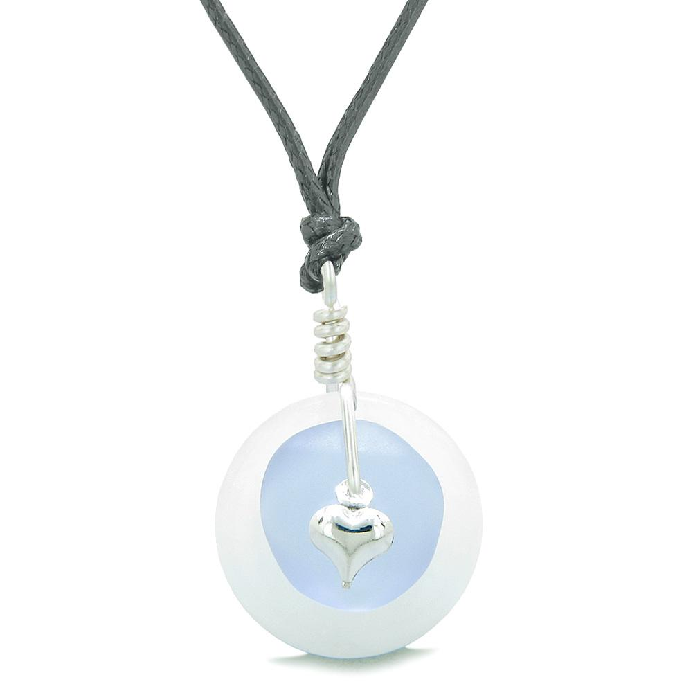 Sea Glass Pastel Purple Heart Lucky Charm and White Quartz Coin Shaped Donut Magic Amulet Adjustable Necklace