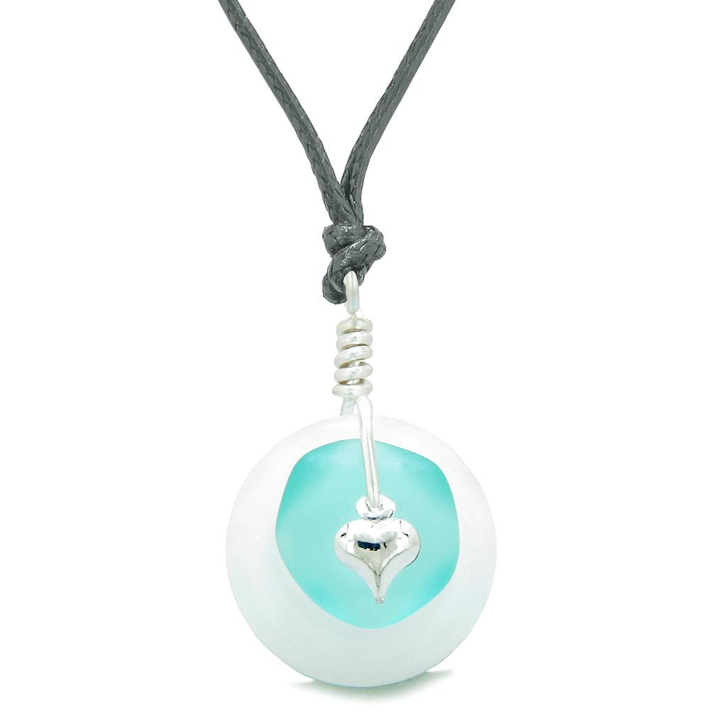 Sea Glass Aqua Blue Heart Lucky Charm and White Quartz Coin Shaped Donut Magic Amulet Adjustable Necklace