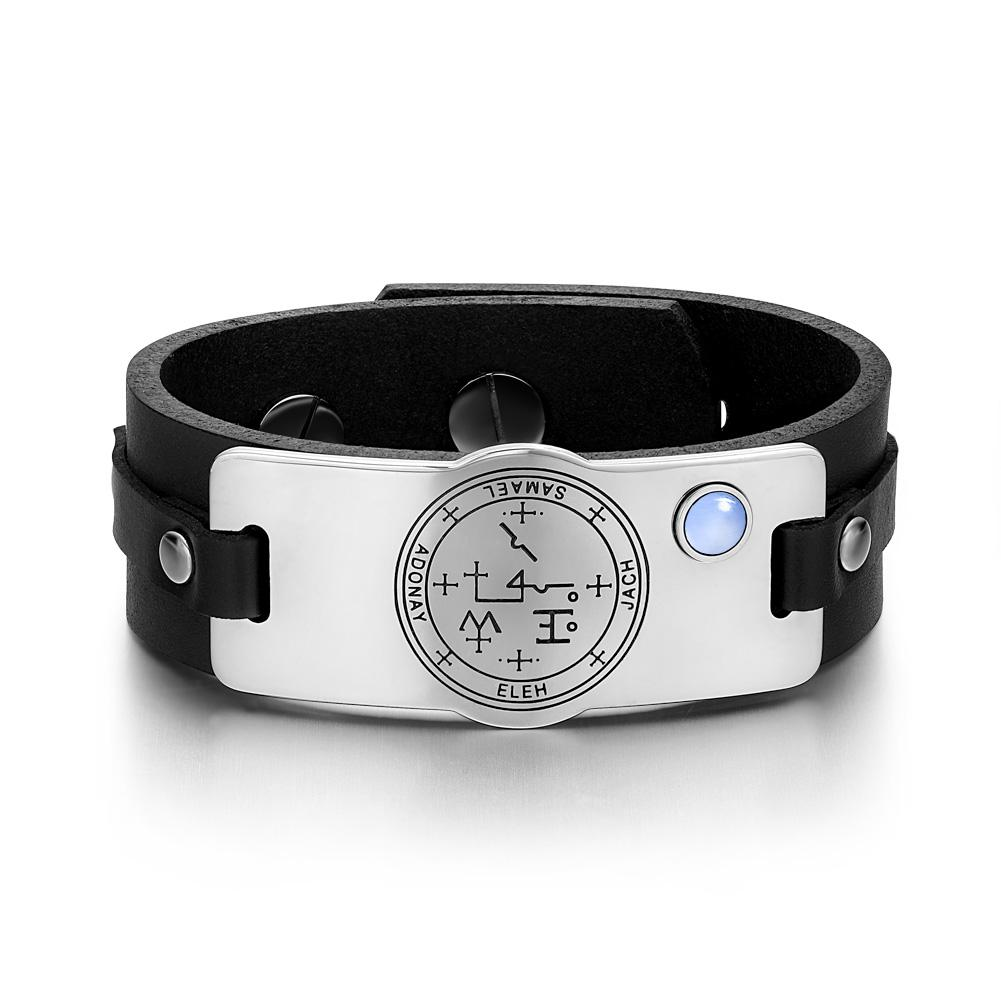 Archangel Samael Sigil Magic Powers Amulet Tag Blue Simulated Cats Eye Black Leather Bracelet