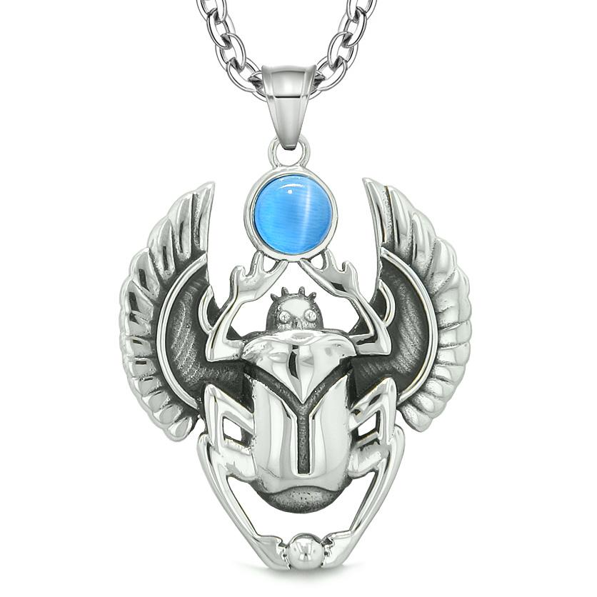 Amulet Egyptian Scarab Rebirth Spiritual Life Power Aqua Blue Simulated Cats Eye Pendant Necklace